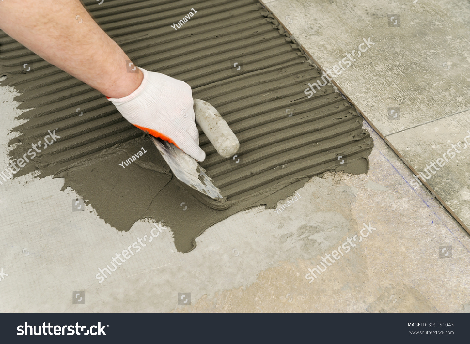 Laying Ceramic Tiles Troweling Mortar Onto Stock Photo (Download Now ...