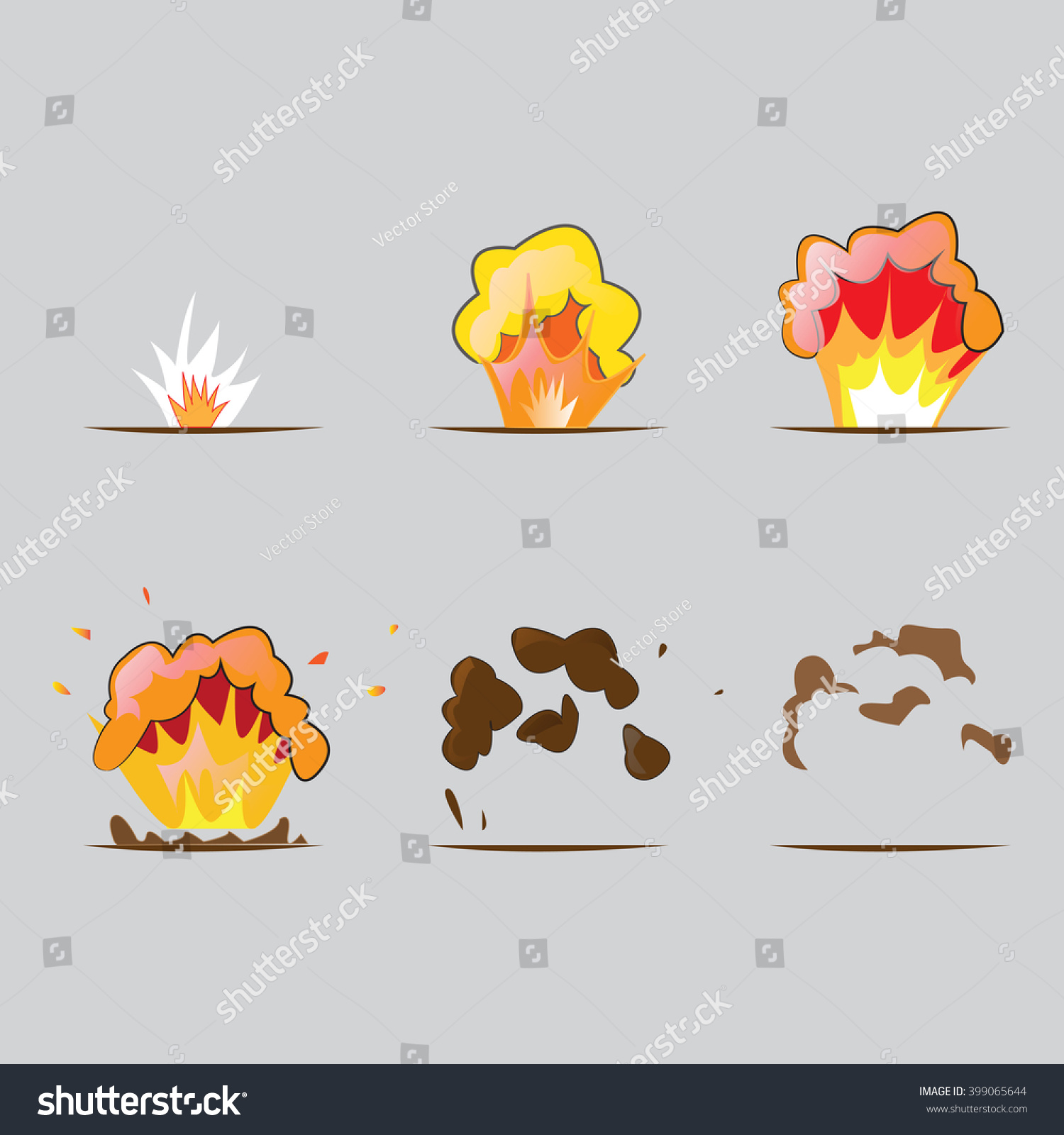 Set Explosion Effect Cartoon Style After Stock Vector (Royalty Free ...