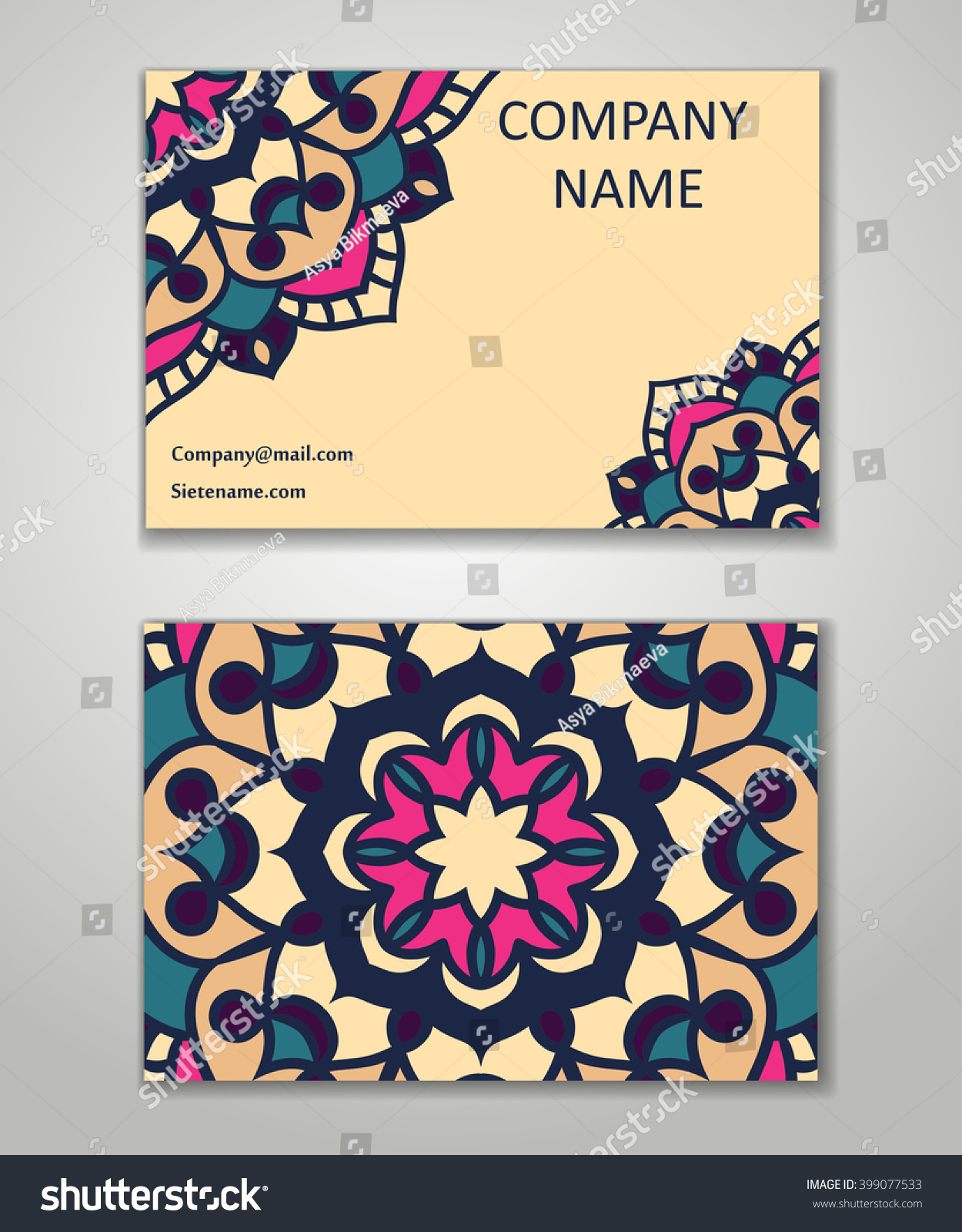 Vector Vintage Business Card Set Beauty Stock Vector 399077533 ...