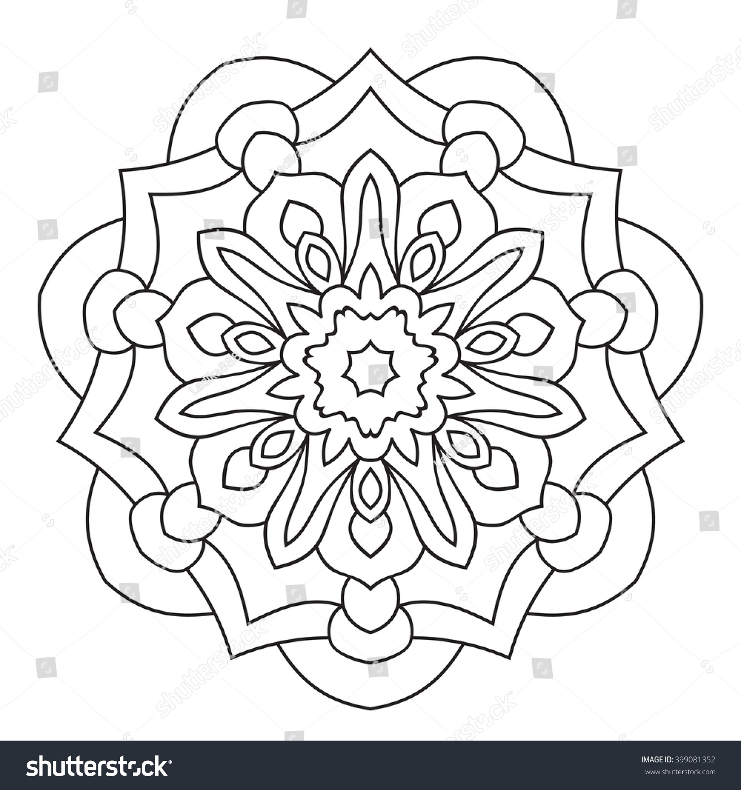 symmetrical circular pattern mandala decorative oriental pattern coloring page for adults