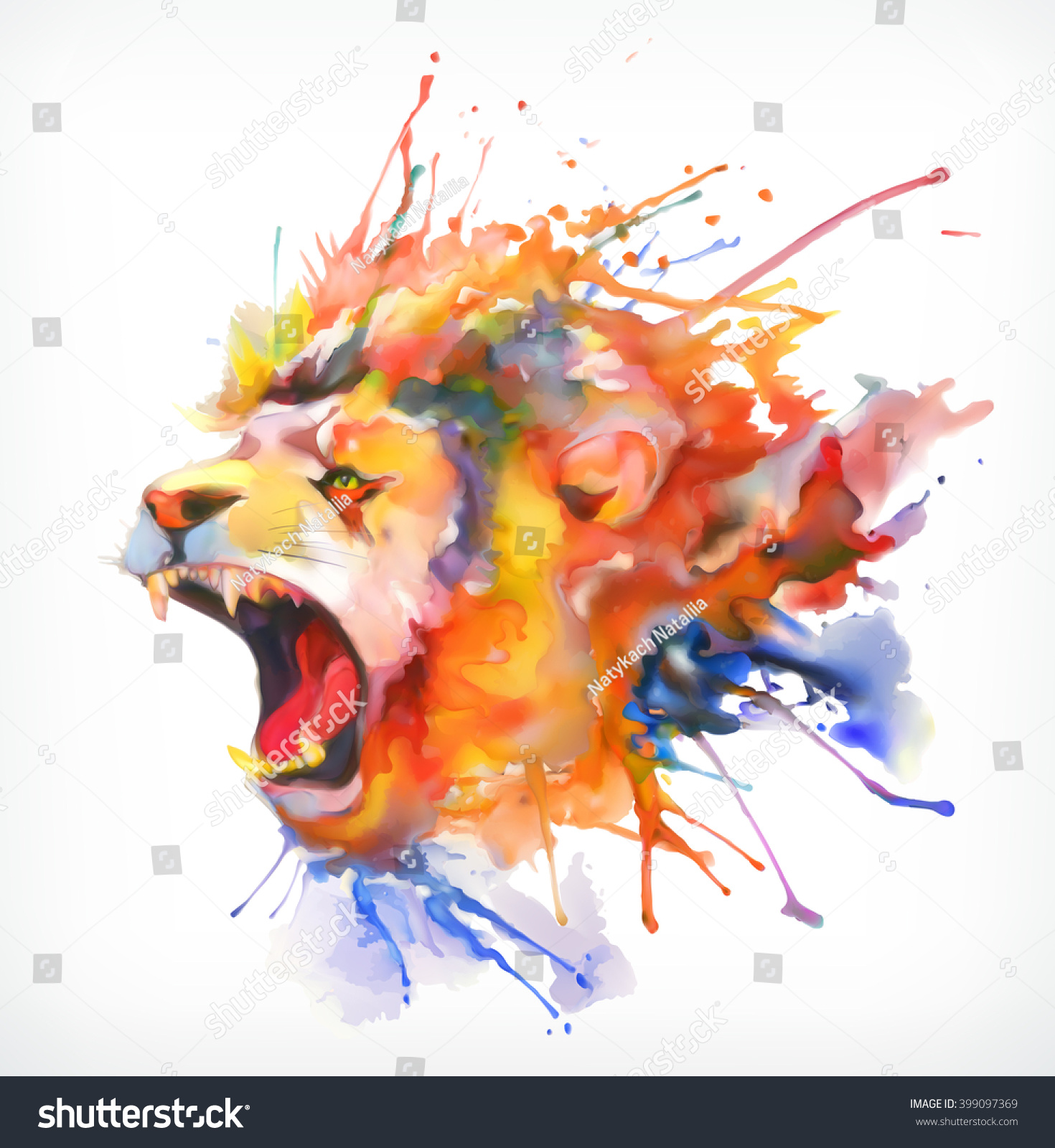 Watercolor Painting Ro... Colorful Lion Paintings