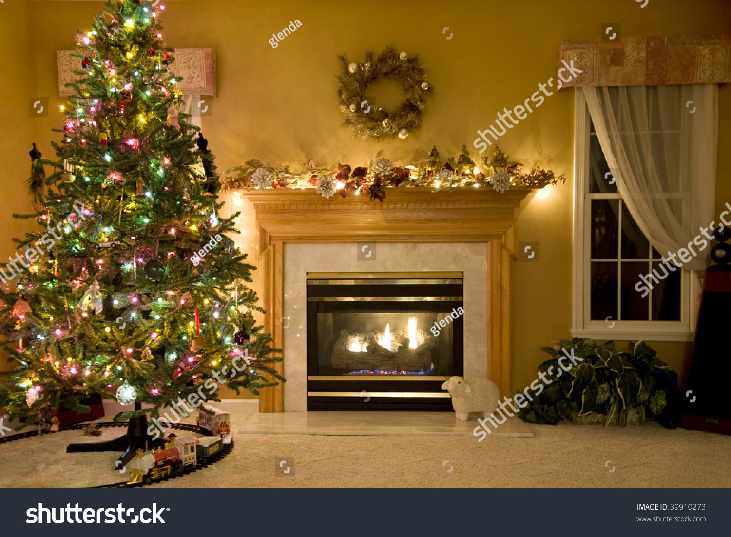 A Beautiful Living Room Decorated For Christmas Stock Photo 39910273 Shutterstock