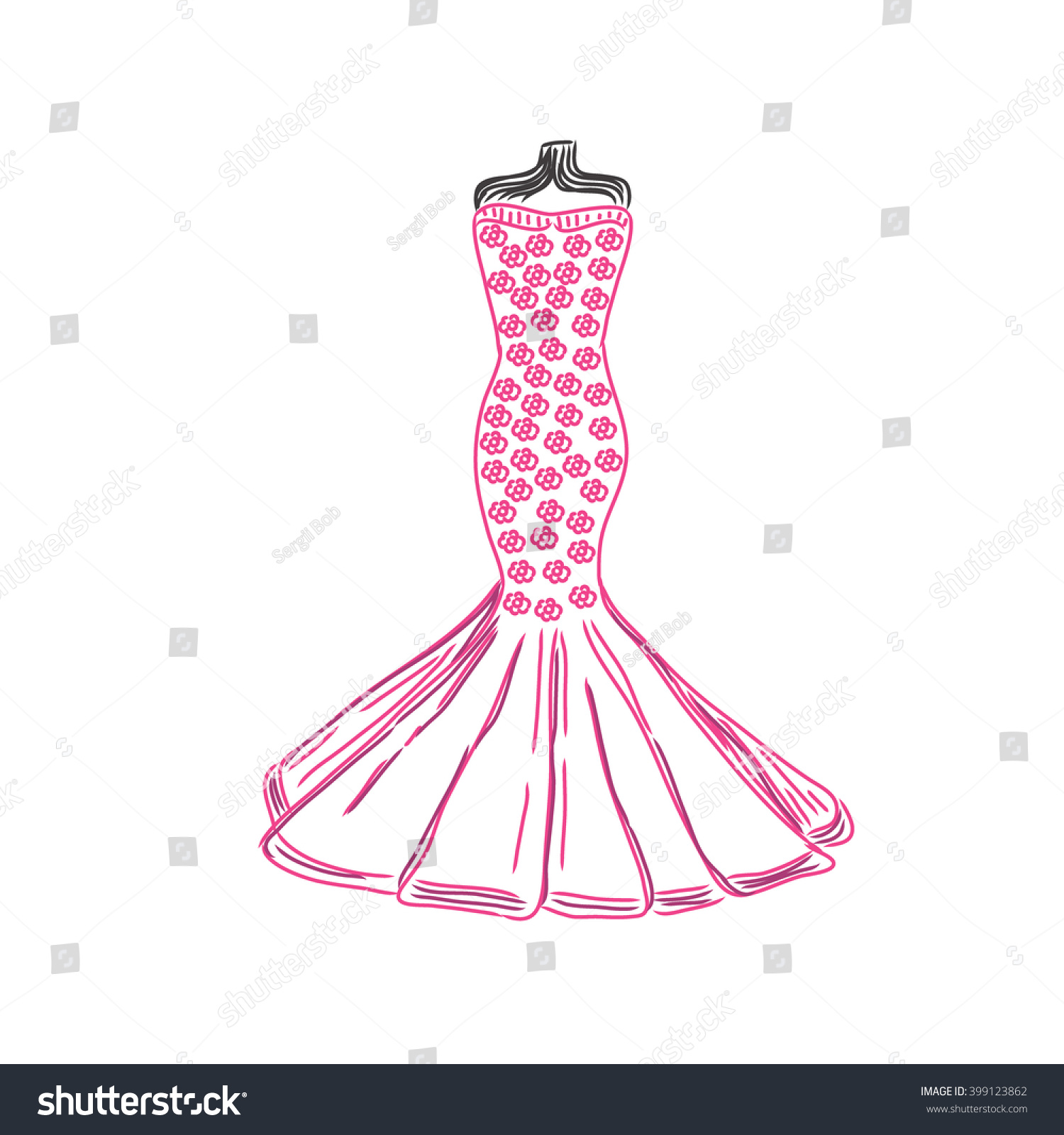 Dress Sketch Vector Illustration Stock Vector 399123862 - Shutterstock