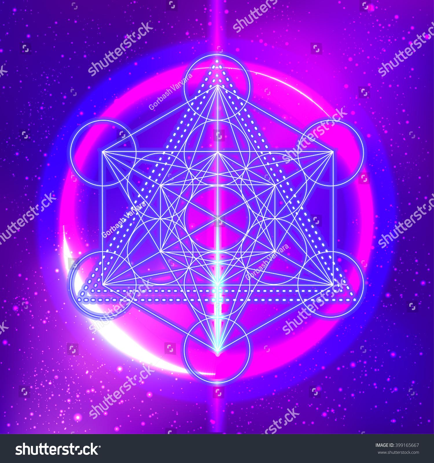 Metatrons Cube Flower Life Sacred Geometry Lager-vektor