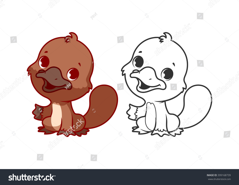 Cute Little Platypus Cartoon Vector Character Stock Vector ...