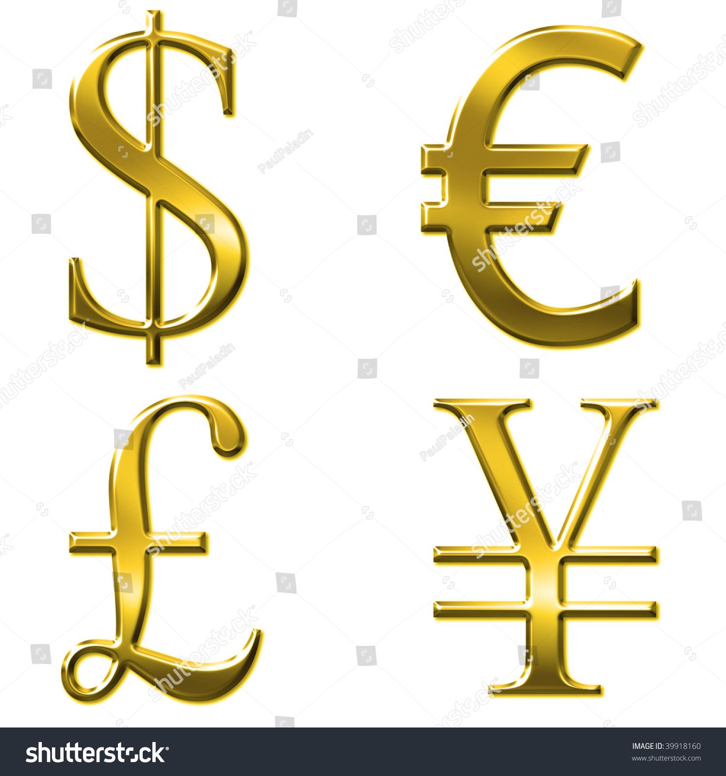Currency Euro Dollar Yen Pound Symbols Stock Illustration 39918160