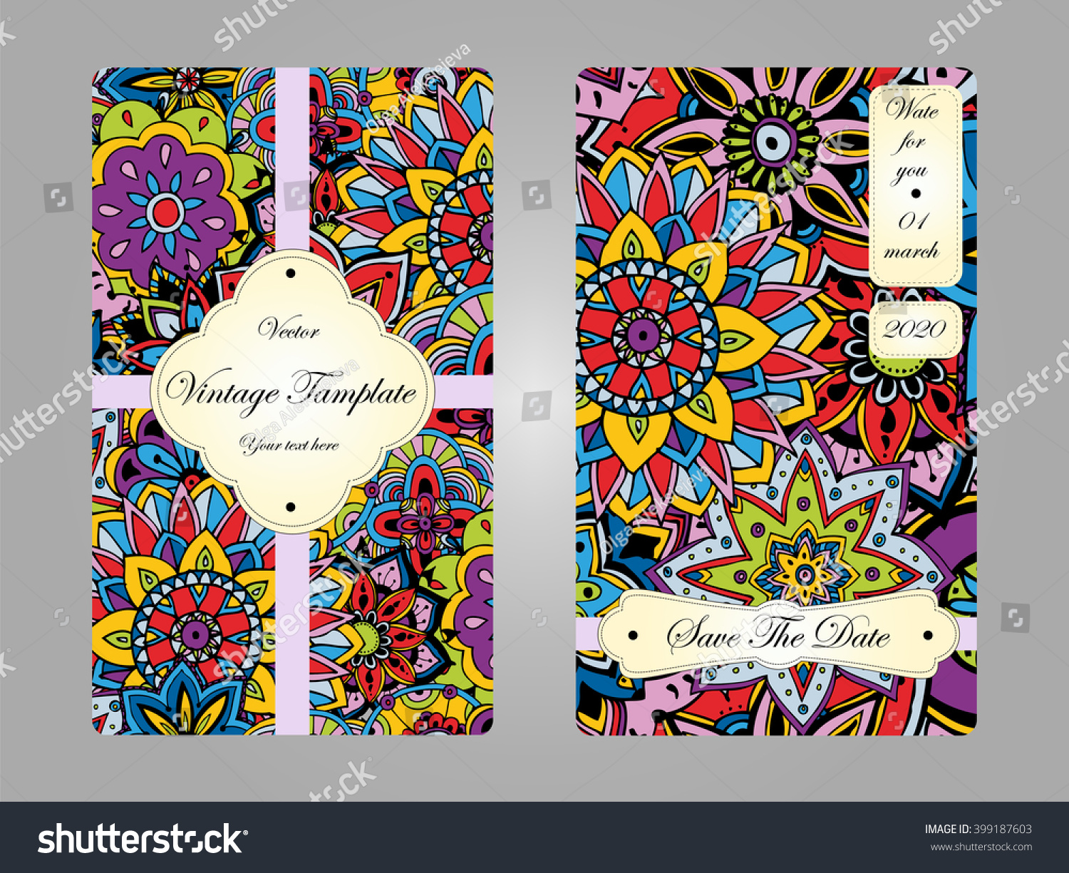Vintage card wedding invitation business card stock vector vintage card wedding invitation business card for your business hand drawn doodle elements magicingreecefo Choice Image