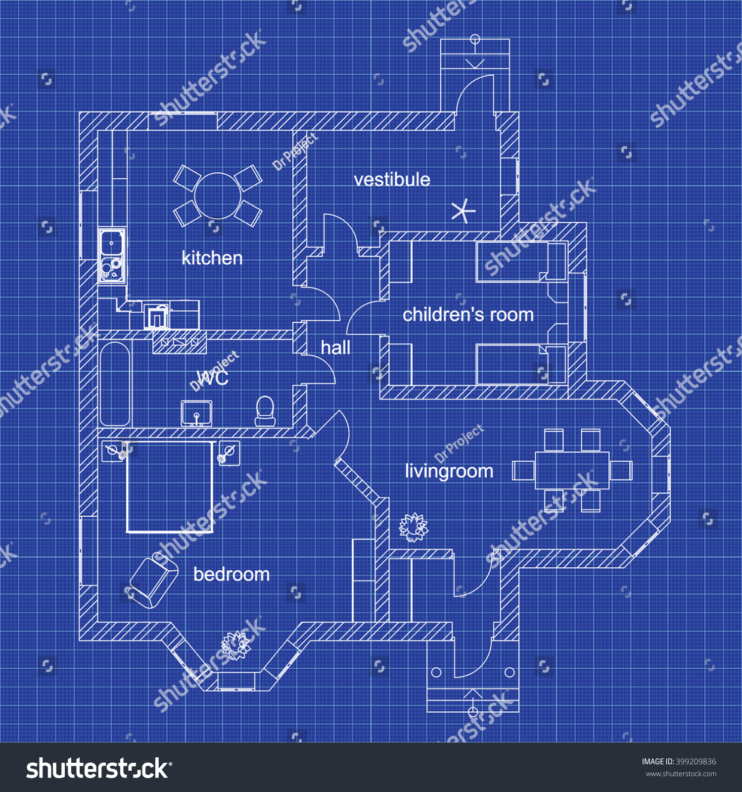 Blueprint floor plan modern apartment on stock vector 399209836 blueprint floor plan of a modern apartment on graph paper vector design house interior malvernweather Gallery