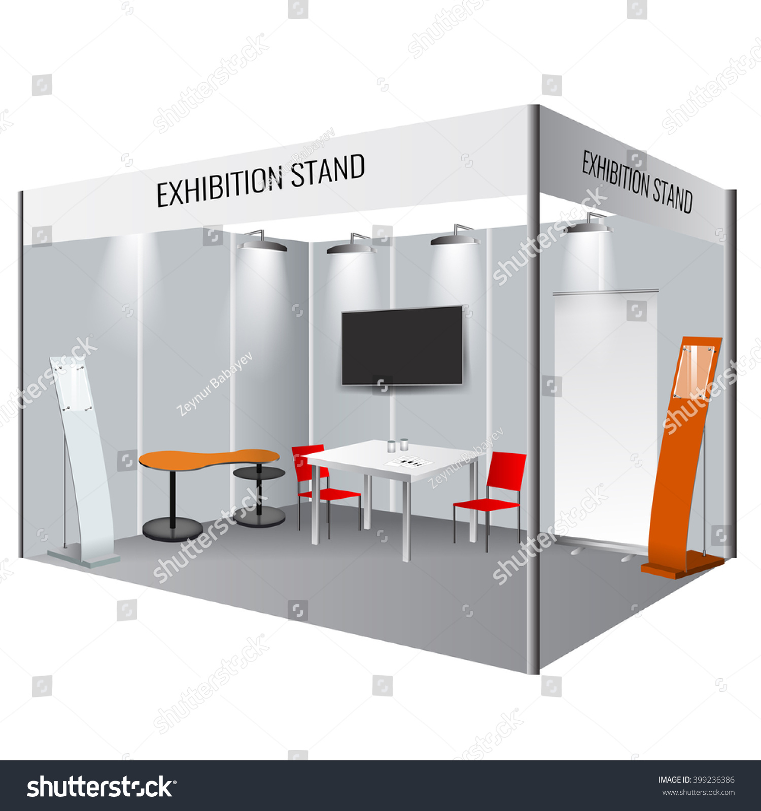 Exhibition Stand Roll Up : Illustrated unique creative exhibition stand display stock