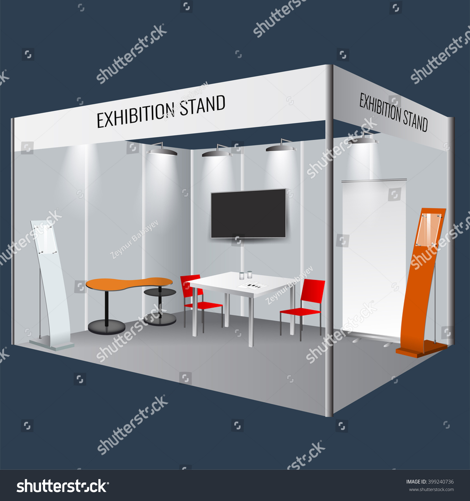 Exhibition Stand Vector : Illustrated unique creative exhibition stand display stock