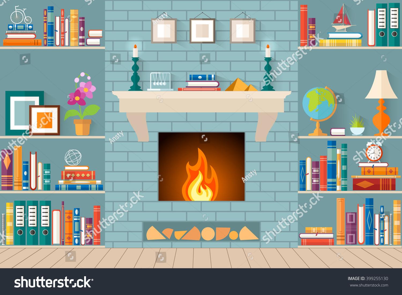 Living Room Bookshelves Fireplace Flat Style Stock Vector