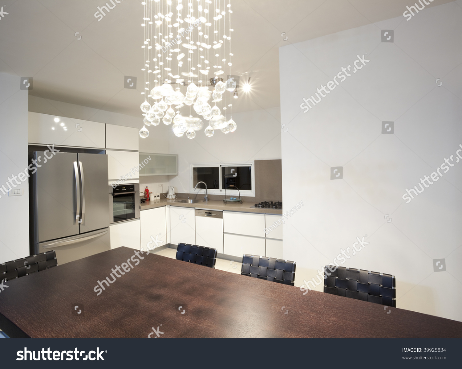 Modern Design Kitchen With White And Wood Elements Stock Photo 39925834 Shutterstock