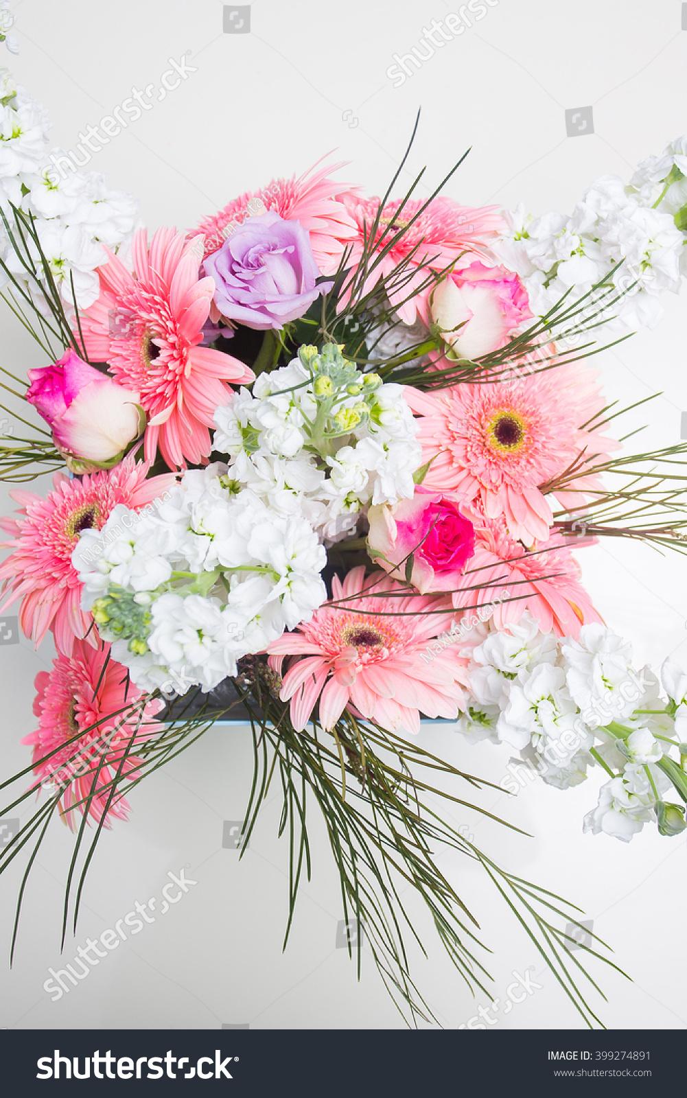 Beautiful Decoration Different Type Flowers Design Stock Photo 100