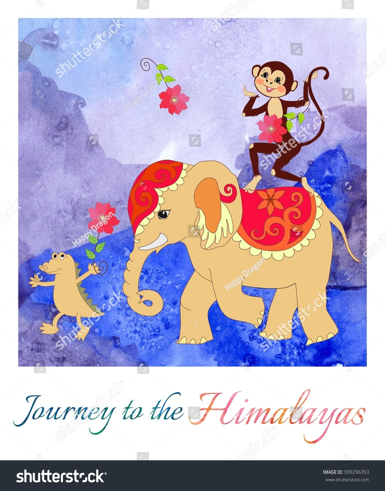 Journey Himalayas Beautiful Card Cute Monkey Stock Illustration