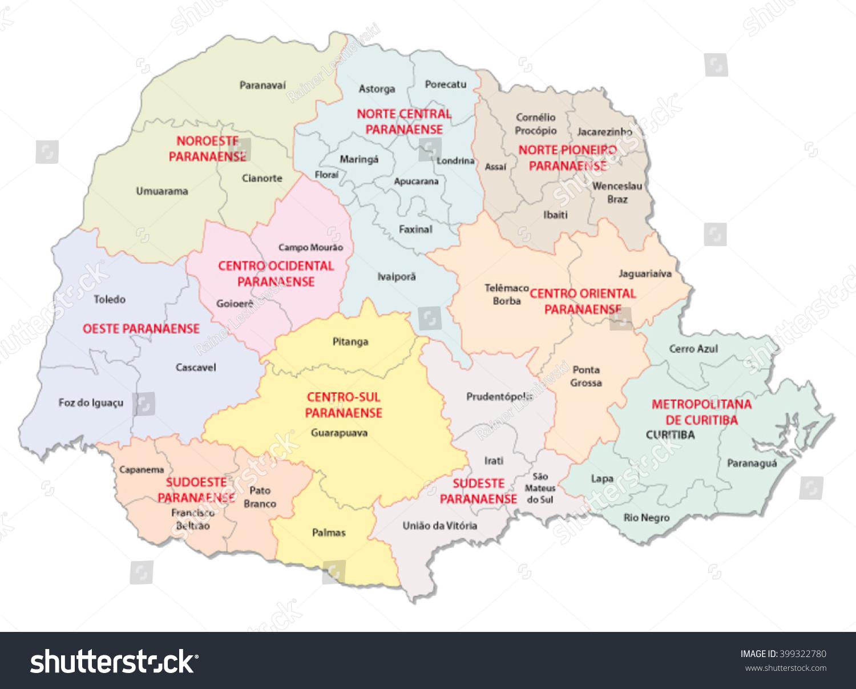Parana Administrative Map Brazil Stock Vector 399322780 Shutterstock