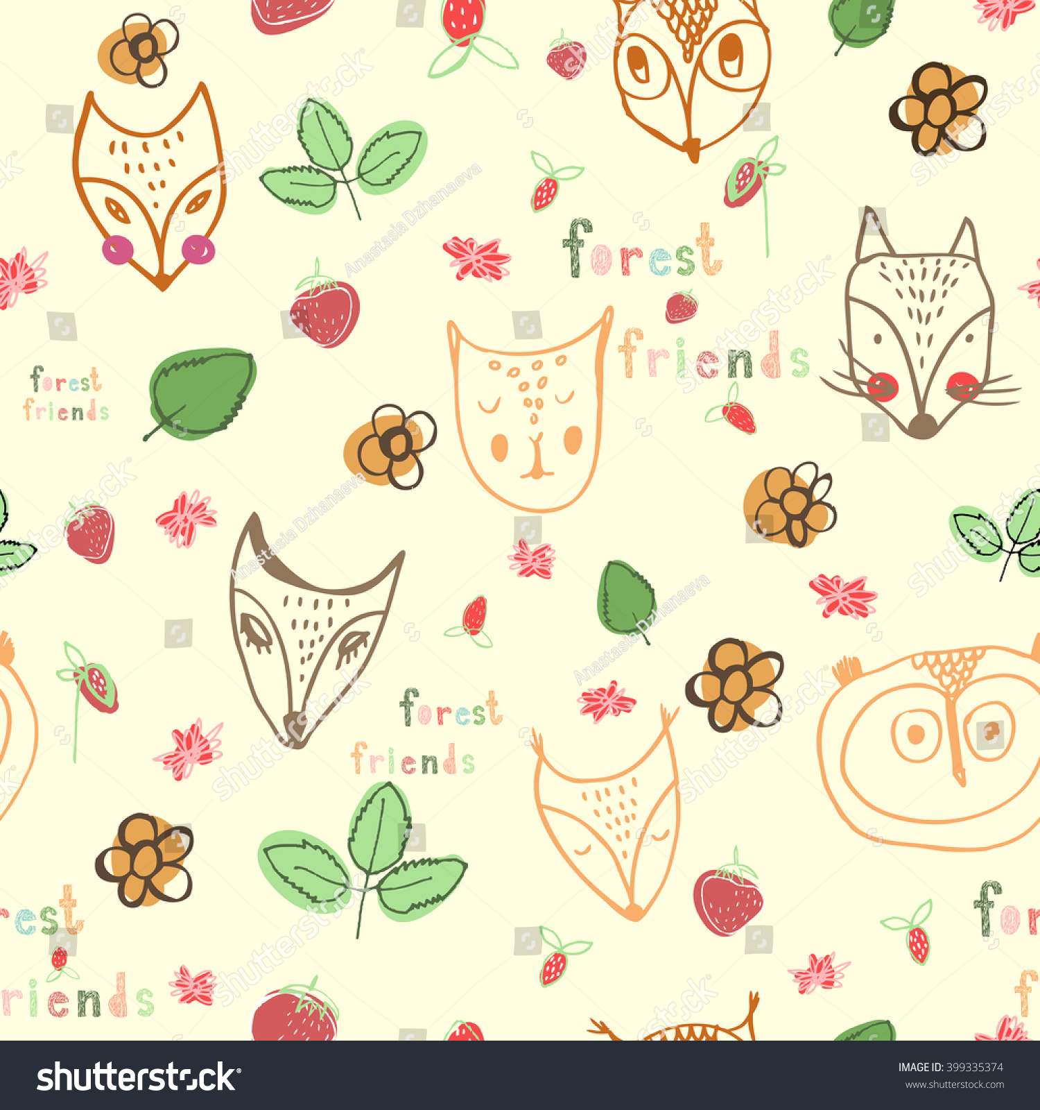 Seamless hand drawn forest friends kids stock vector for Kids pattern fabric