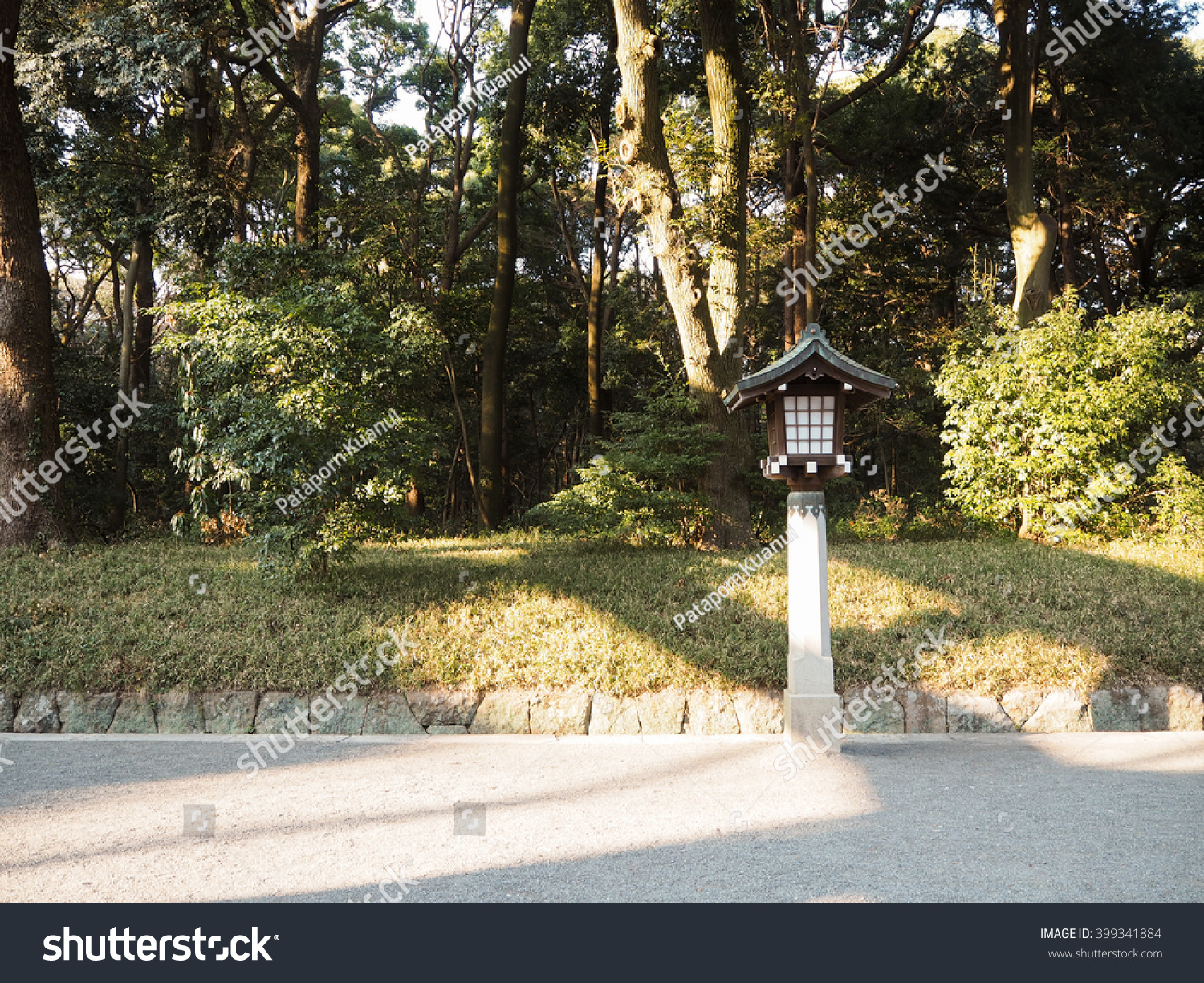 Stone Lamp Japan Temple Double Space Stock Photo 399341884 ... for Temple Stone Lamp  303mzq