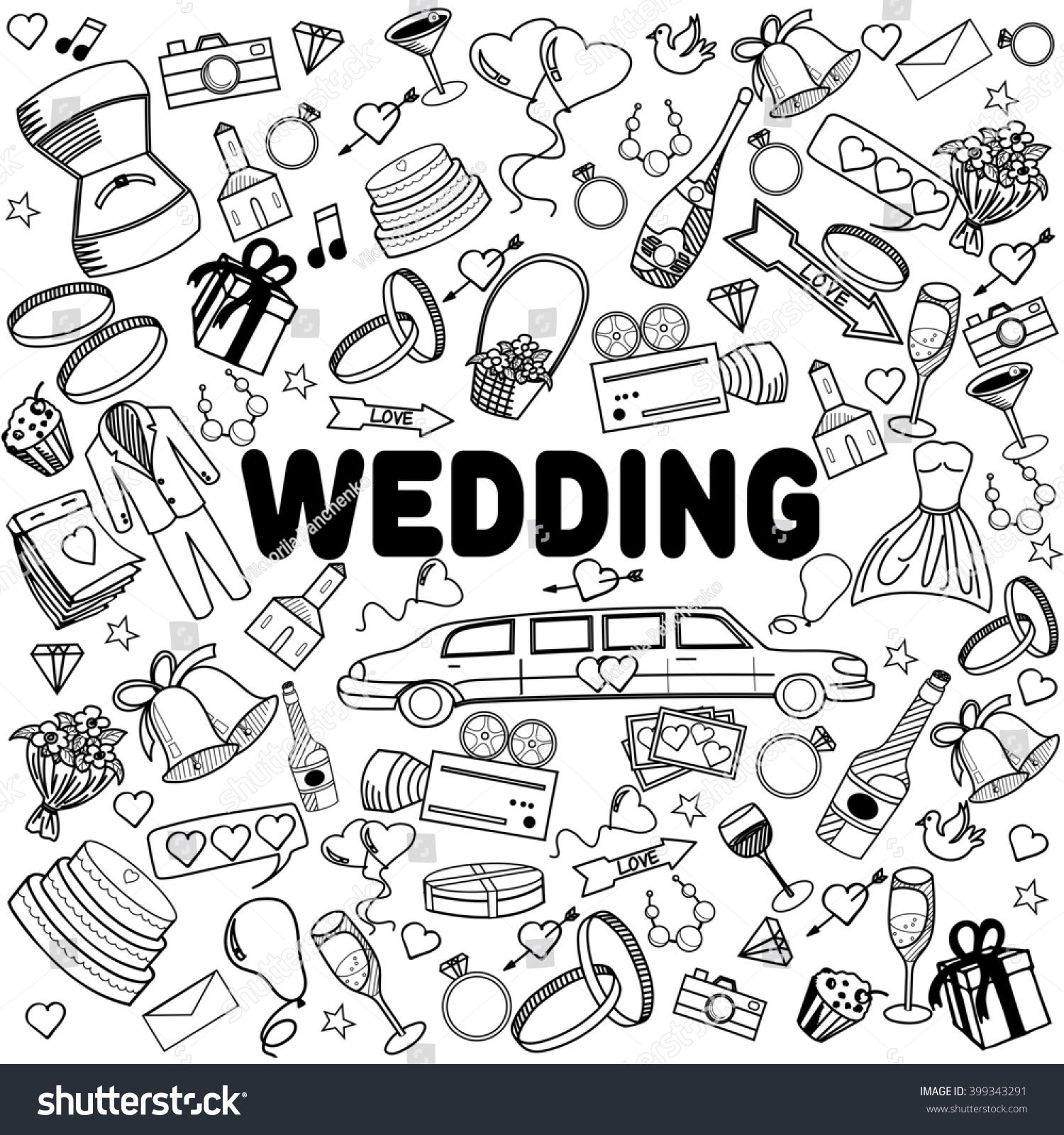 wedding coloring book line art design raster illustration separate objects hand drawn doodle design - Wedding Coloring Book