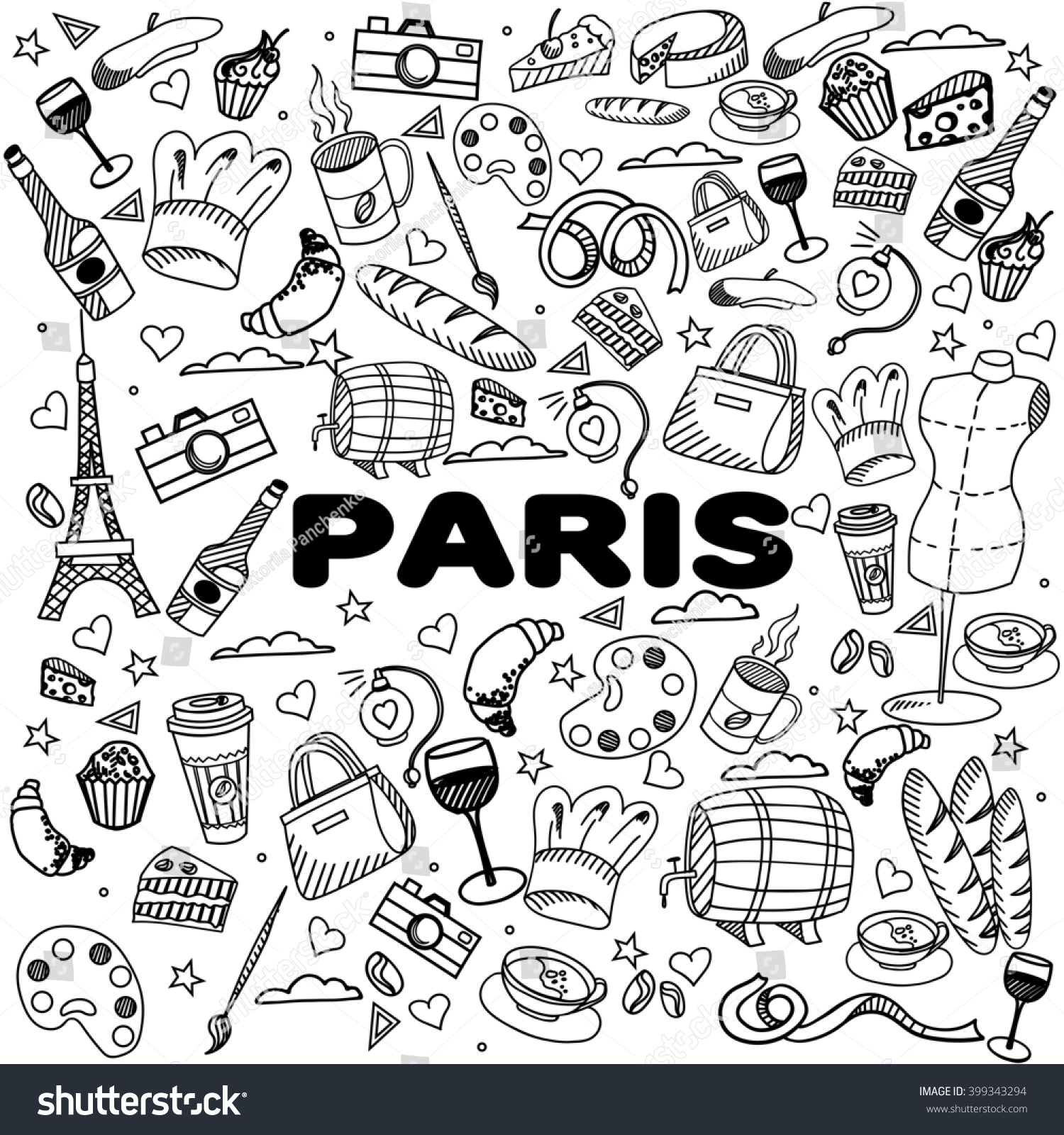 paris coloring book line art design raster illustration separate objects hand drawn doodle design - Paris Coloring Book
