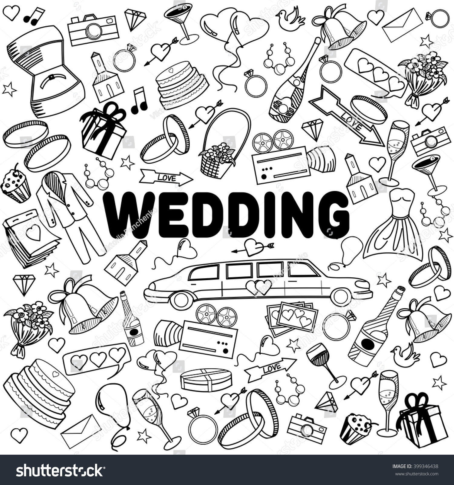 Wedding Coloring Book Line Art Design Stock Vector (Royalty Free ...