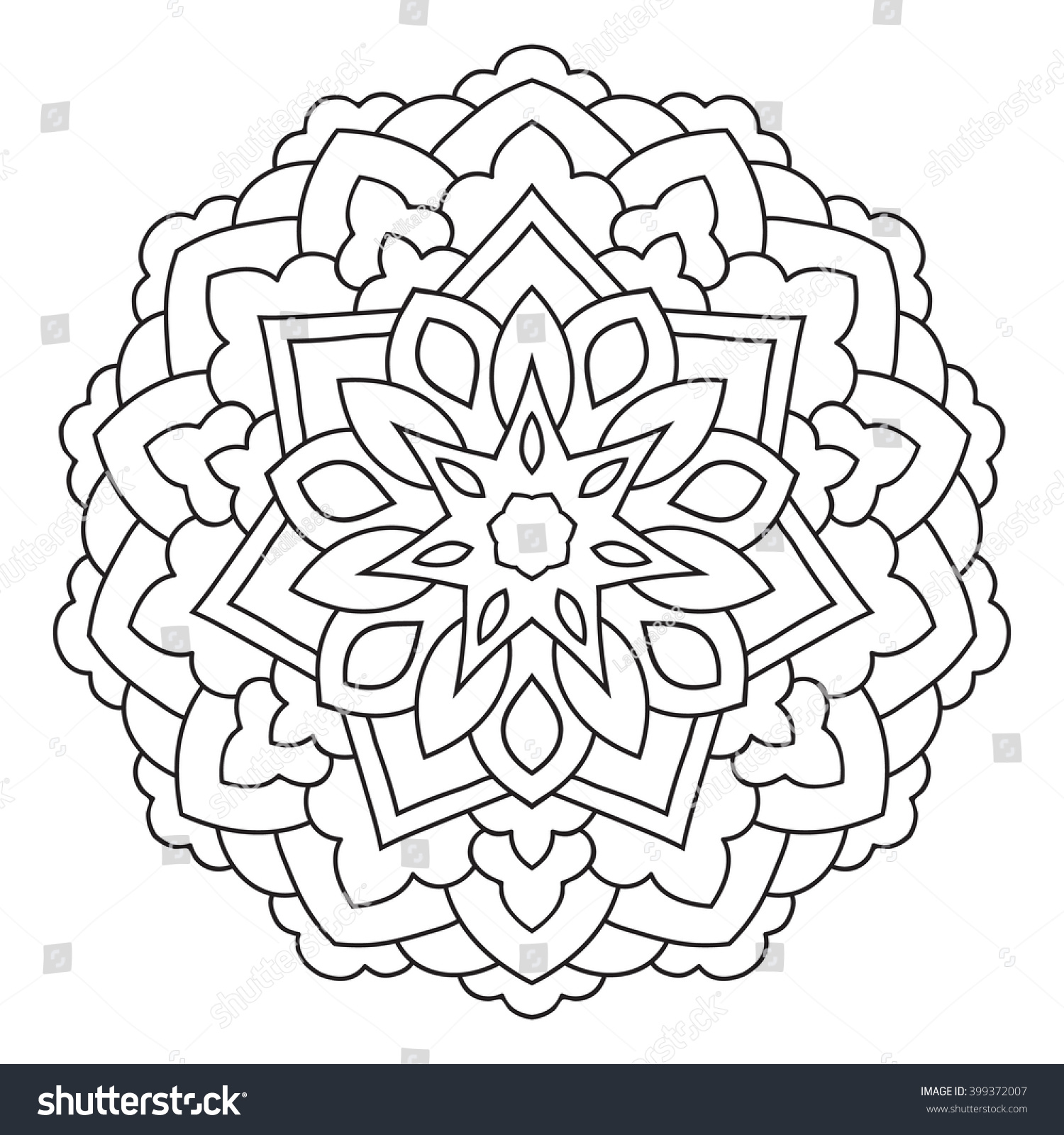 symmetrical circular pattern mandala decorative oriental ornament coloring page for adults