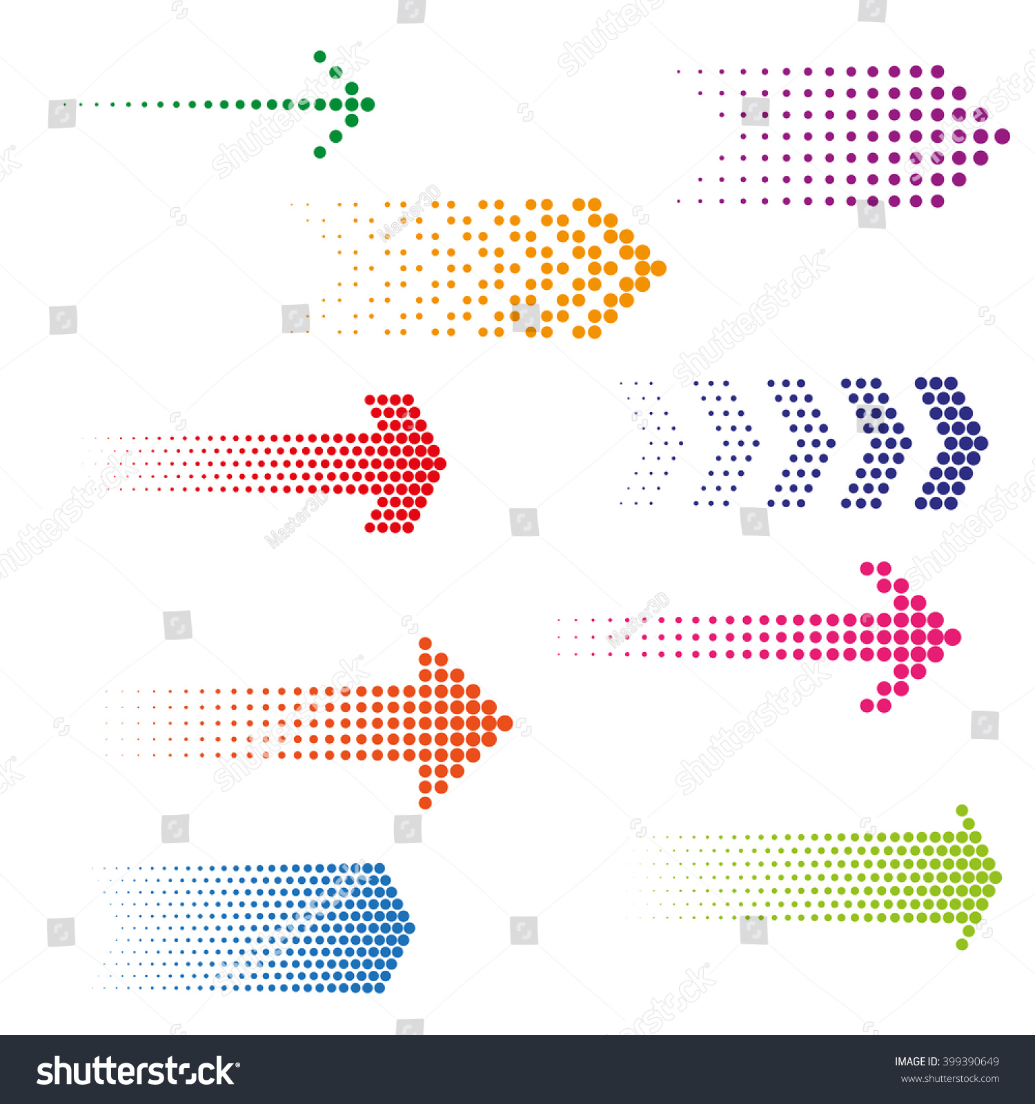 Set of dotted arrows. Halftone effect vector templates #399390649