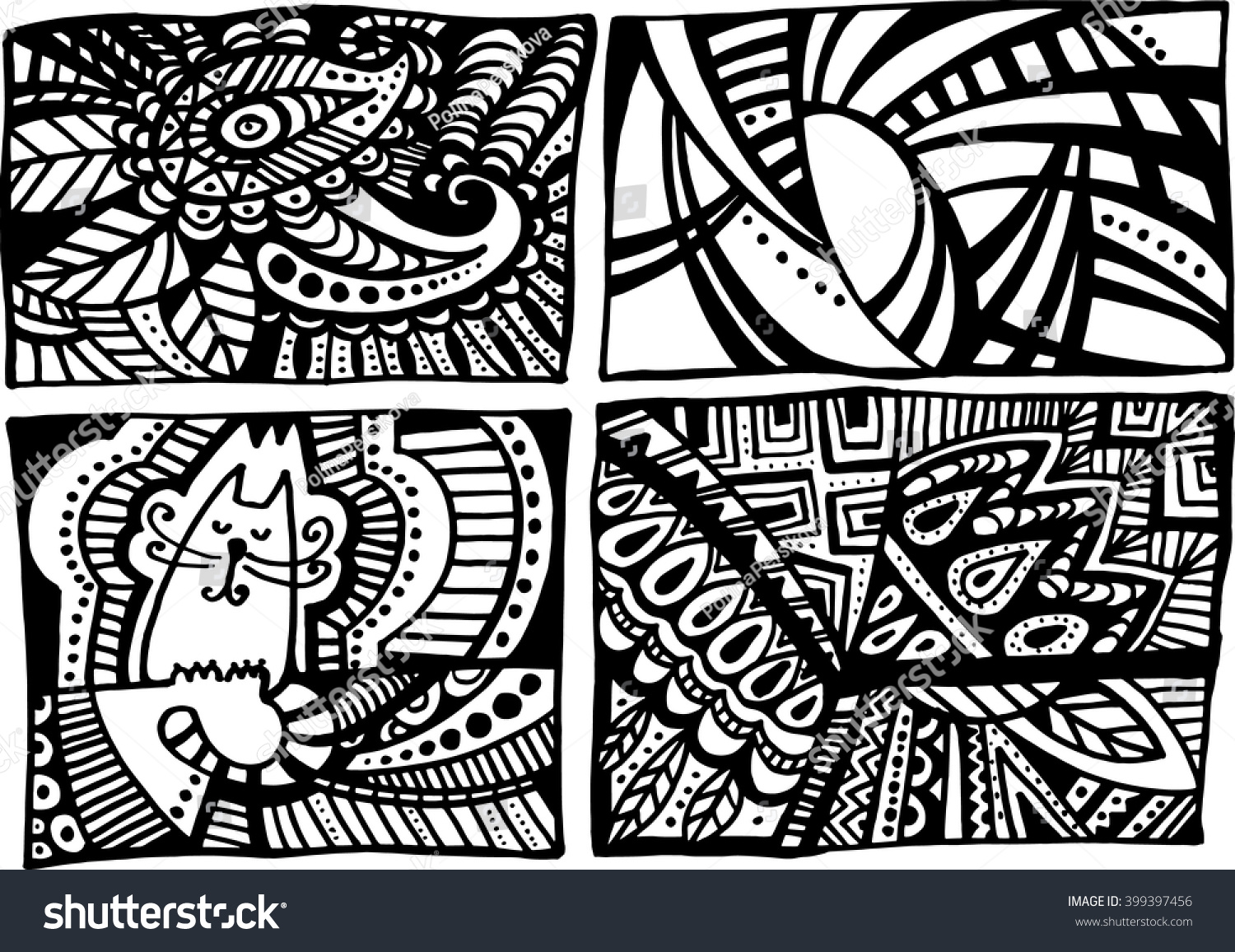 Line And Shape Art : Line art ornament band geometric patterns stock vector