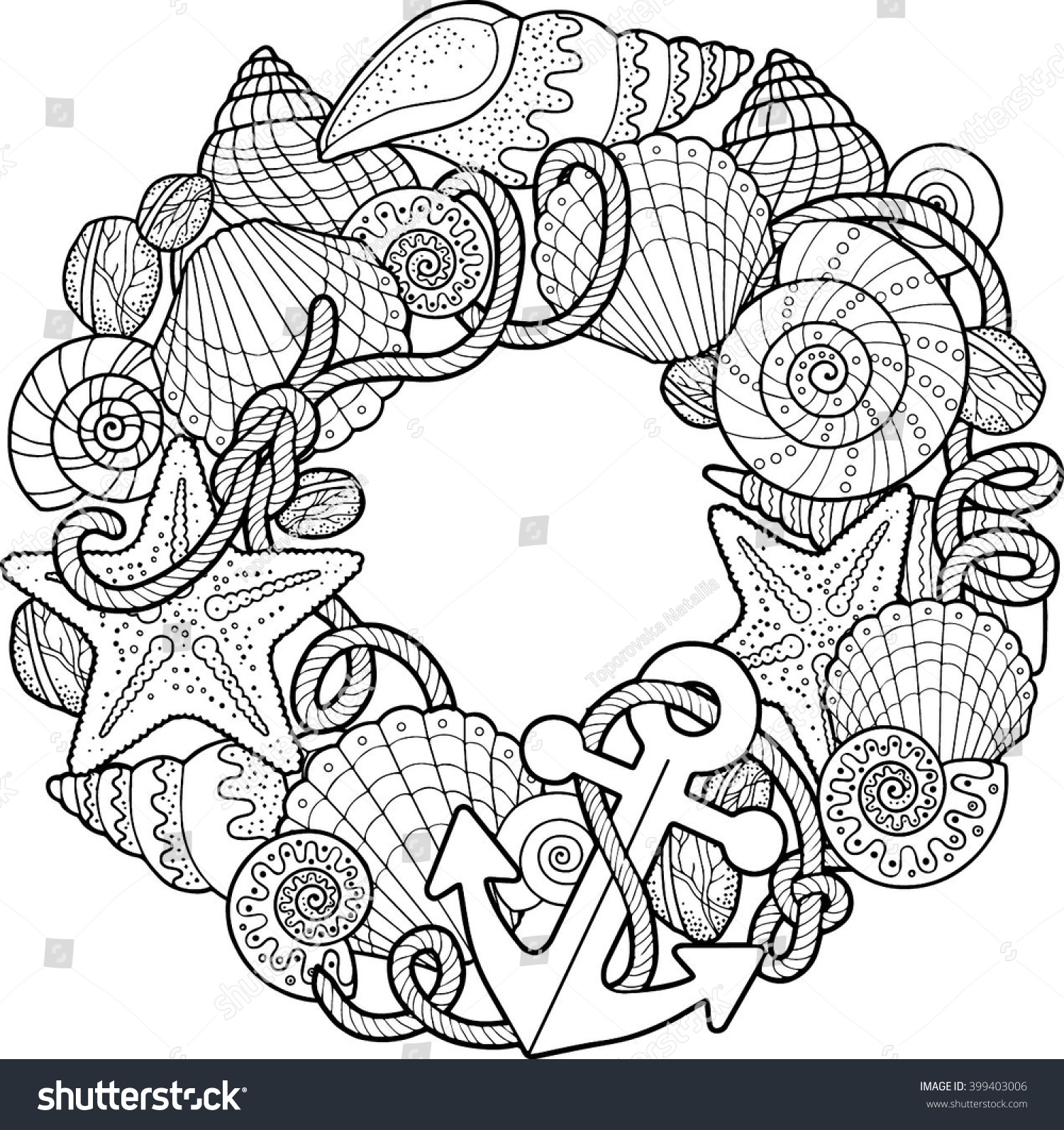 round frame made shells coloring pages stock vector 399403006