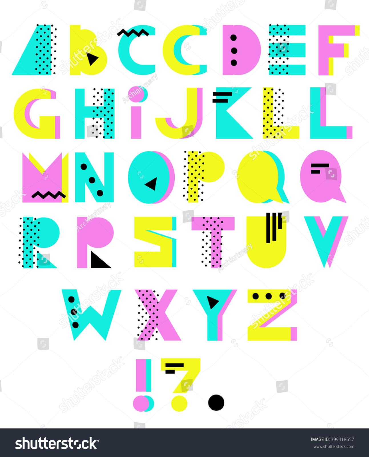 Hand Drawn Alphabet Geometric Funny Font Stock Vector