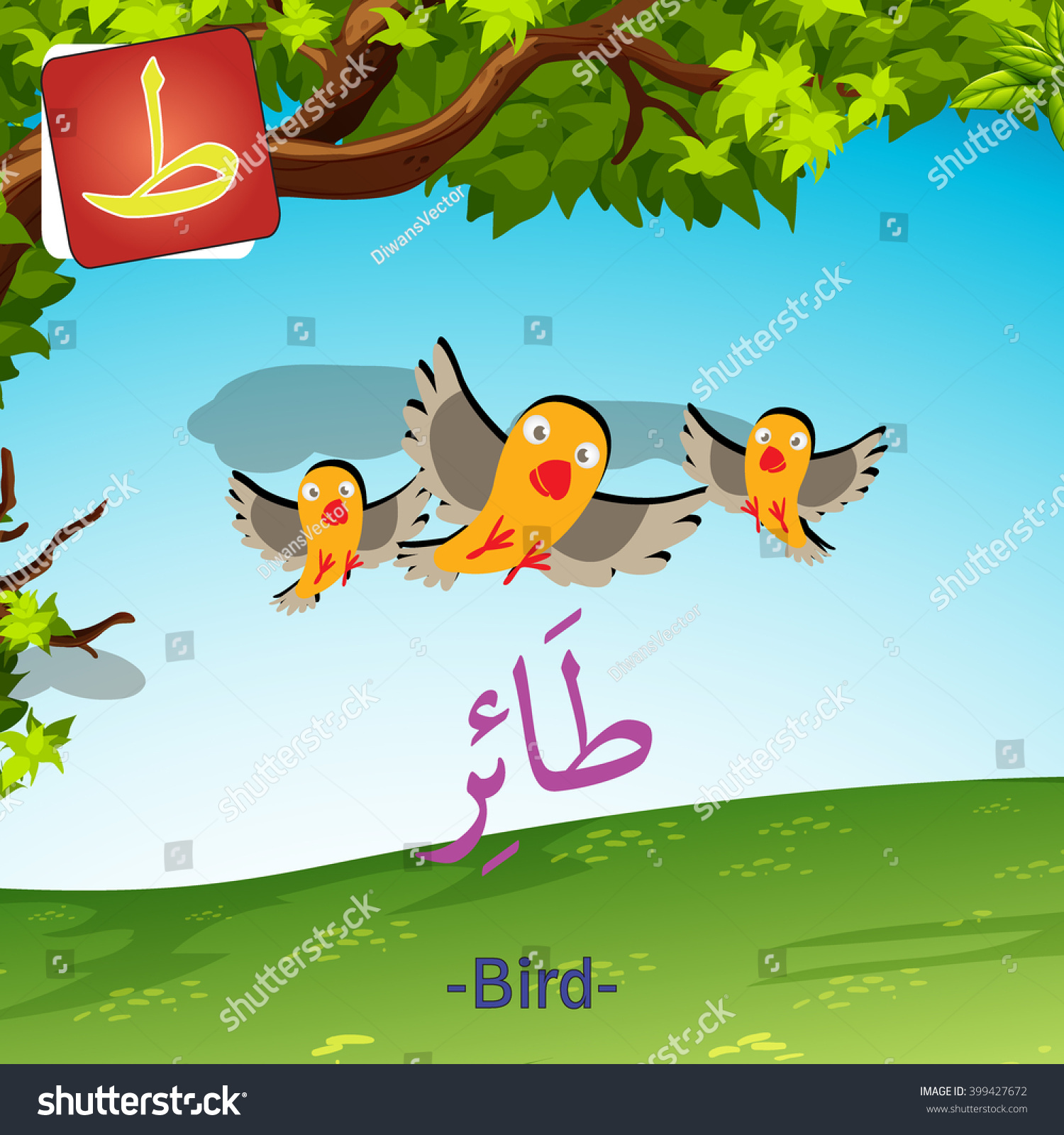 Arabic alphabet for kids with cute animals and fruit for each letter - Arabic Alphabet Cute Animal Vector Colorful Of Bird Tha