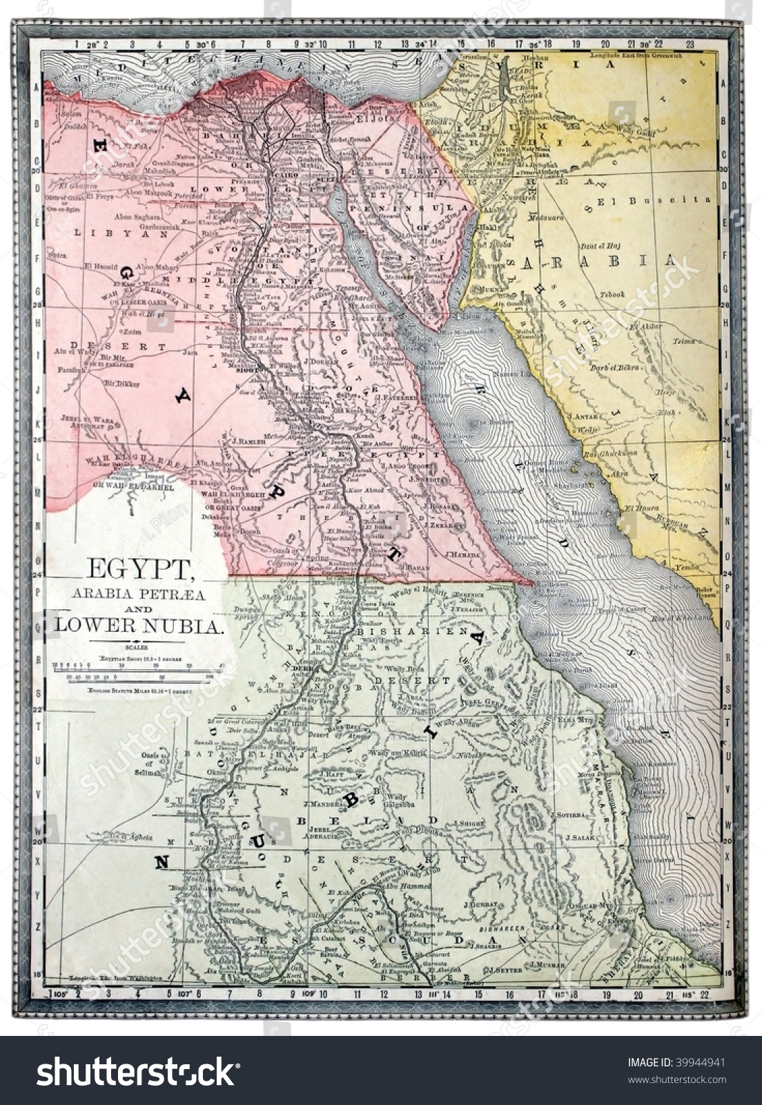 Original Map Egypt Nubia Line Colored Stock Photo - Map of egypt nubia