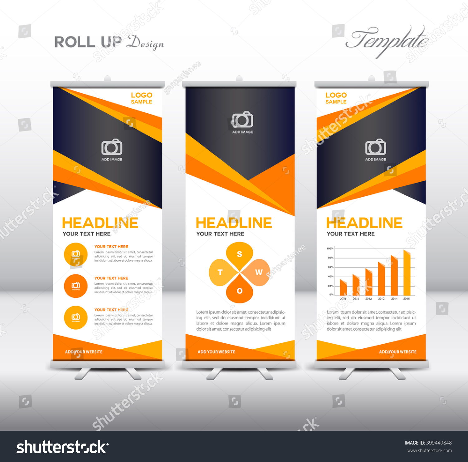 orange roll banner template info graphics stock vector  orange roll up banner template and info graphics elements stand design advertisement display