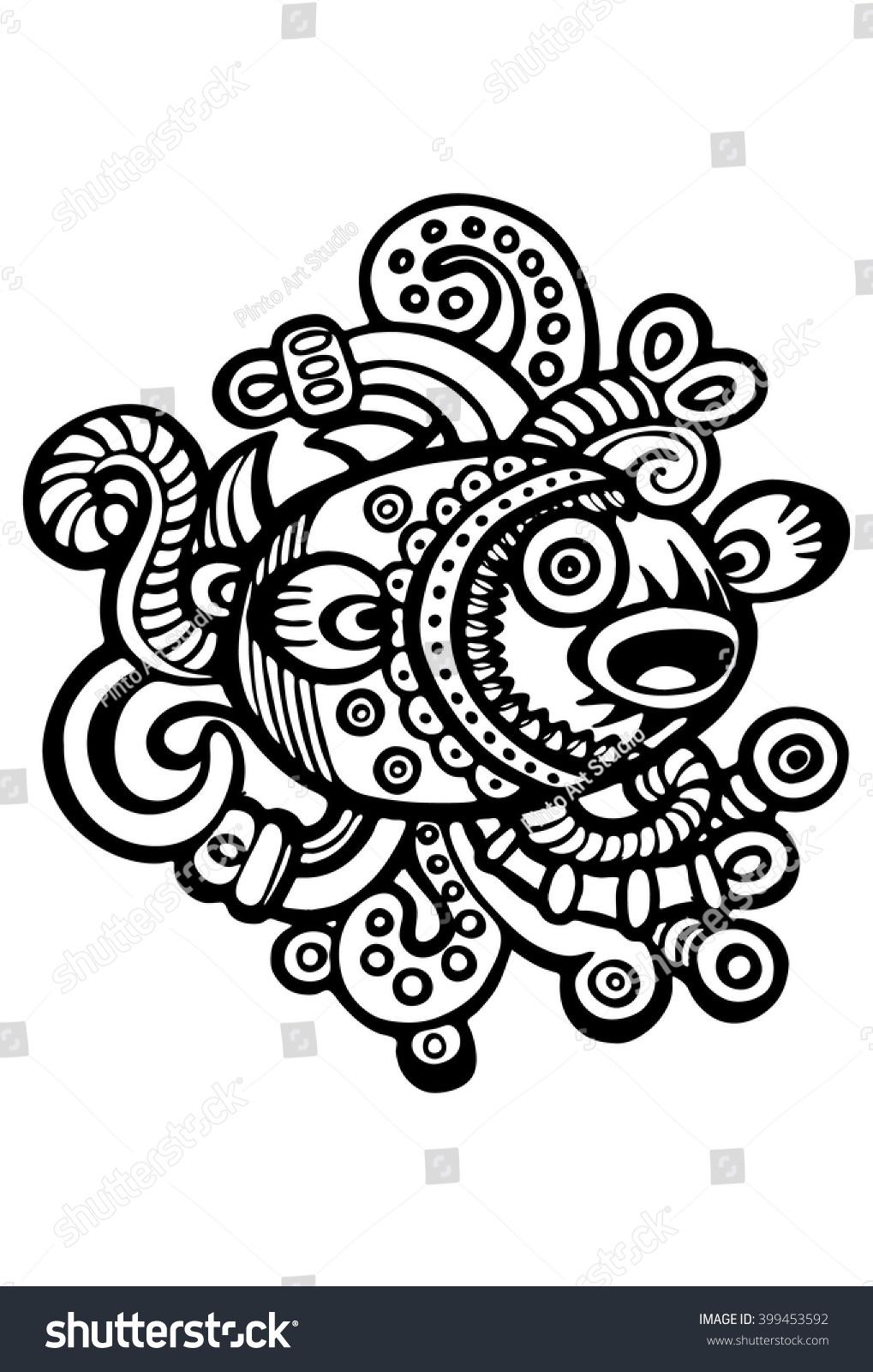 mayan glyph fish stock vector 399453592 shutterstock