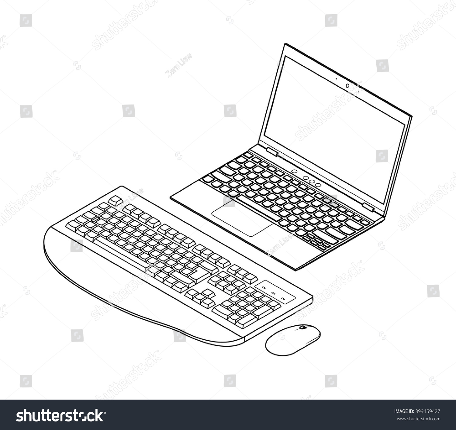Line Drawing Keyboard : Lineart detailed isometric drawing laptop computer stock