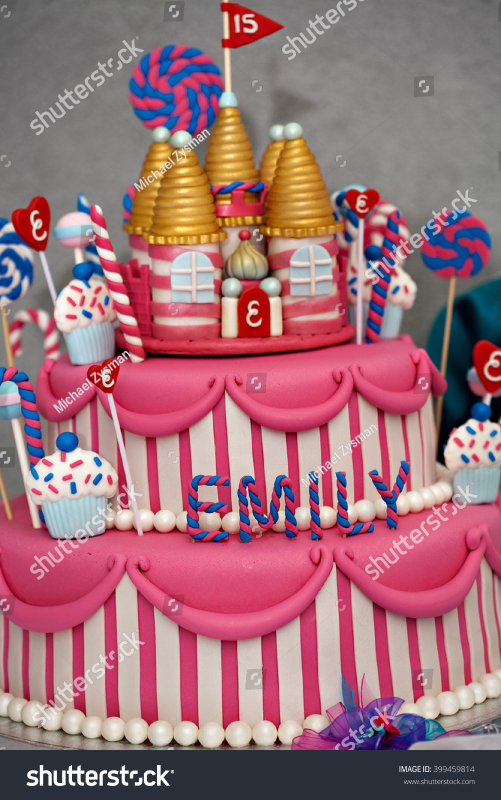 Fancy Birthday Cake Candyland Theme Three Stock Photo Edit Now