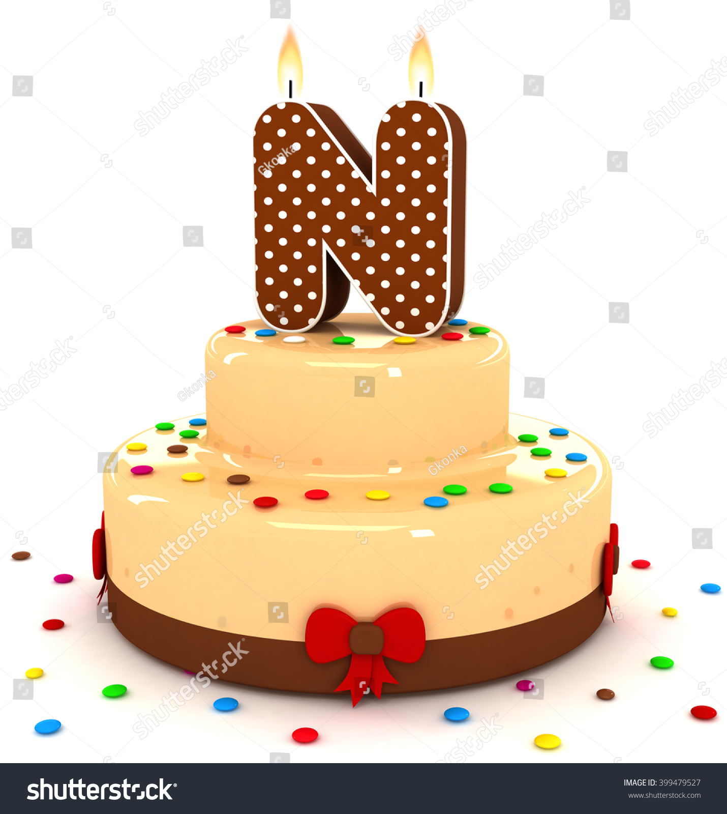 3d cute letter n rendering colorful with chocolate birthday cake alphabet with sweet polka