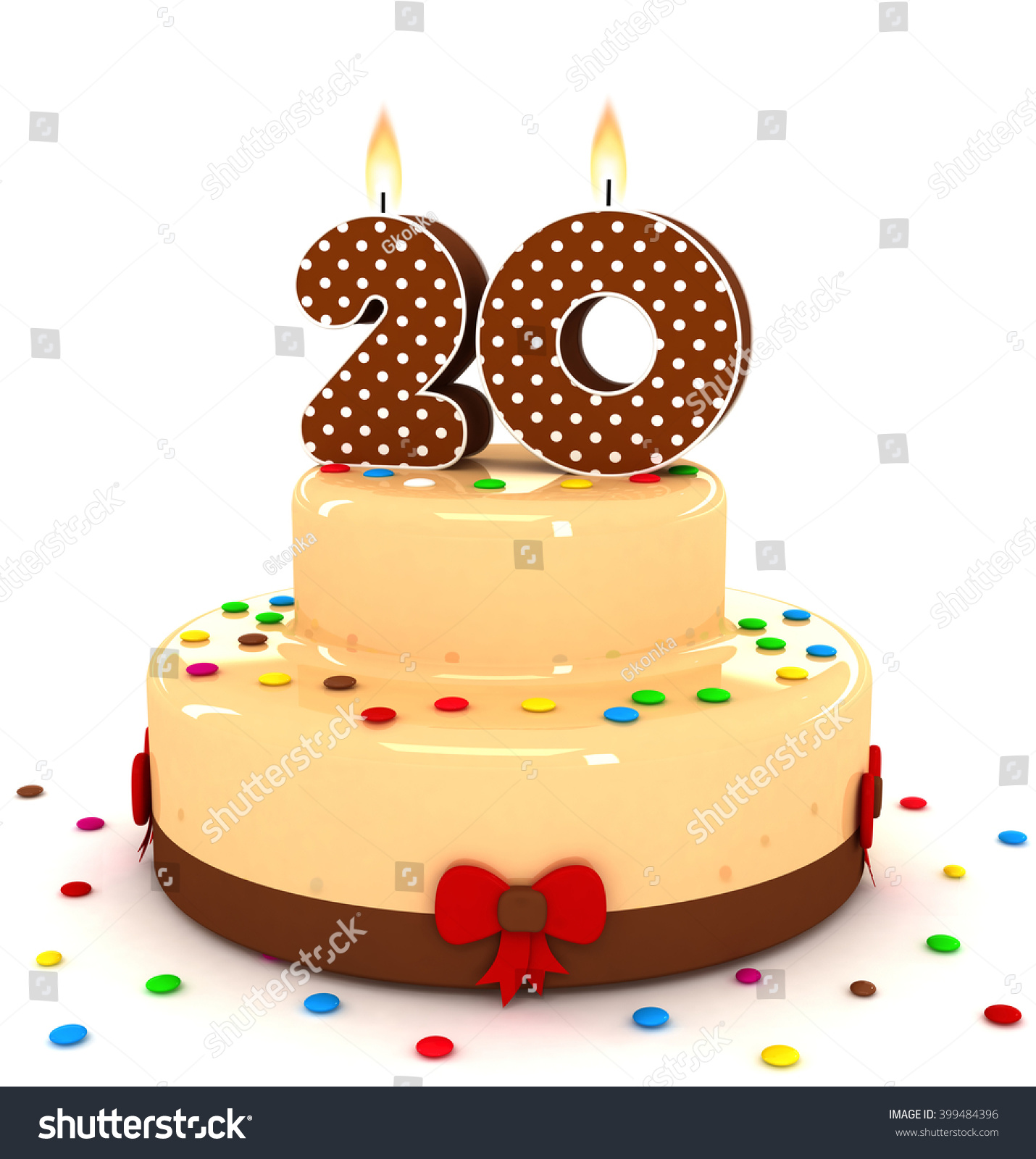 3d Cute Number 20 Twenty Rendering Colorful With Chocolate Birthday Cake Sweet Polka Dot