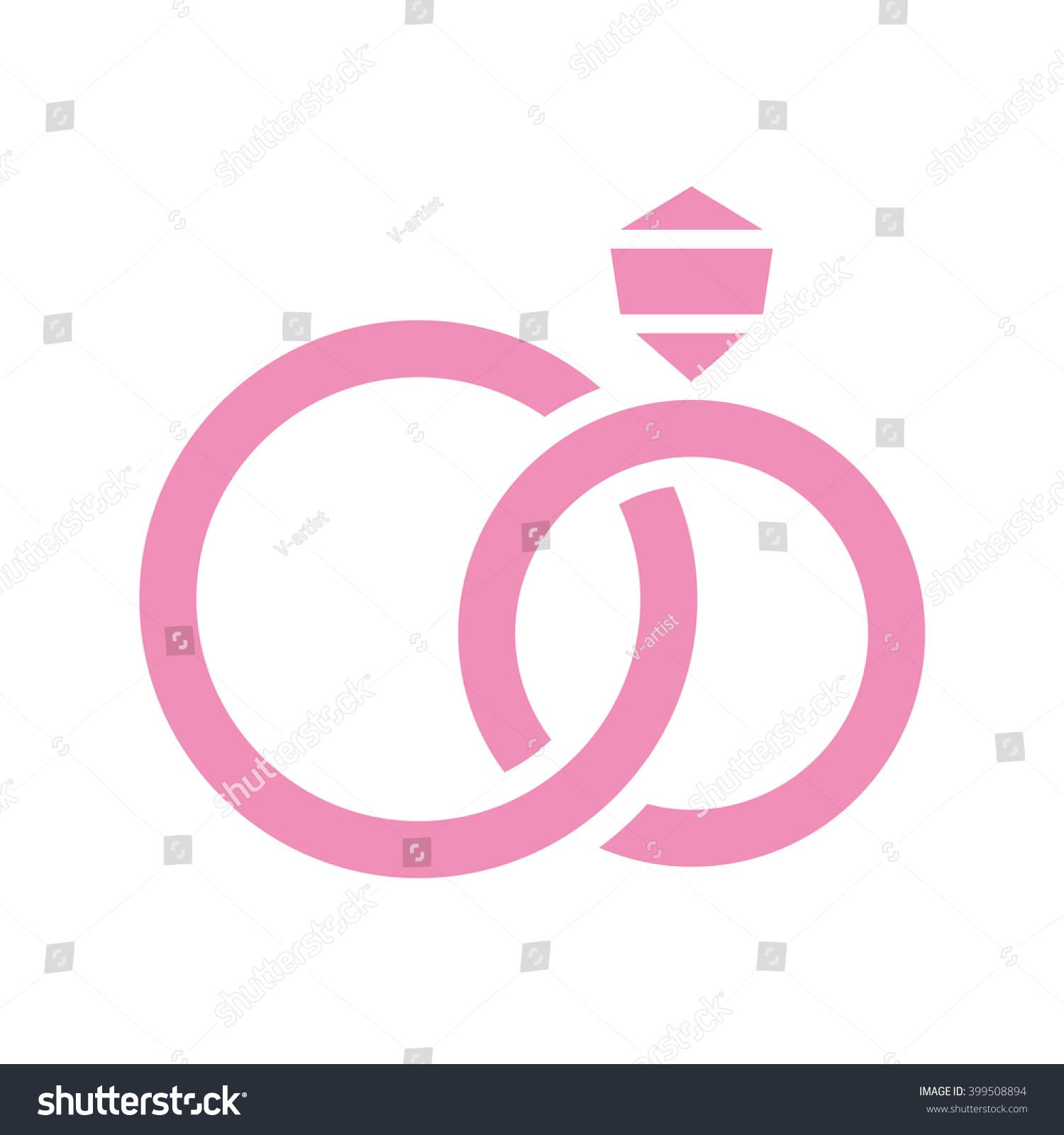 Wedding Rings Diamond Vector Icon Color Stock Vector 399508894 ...