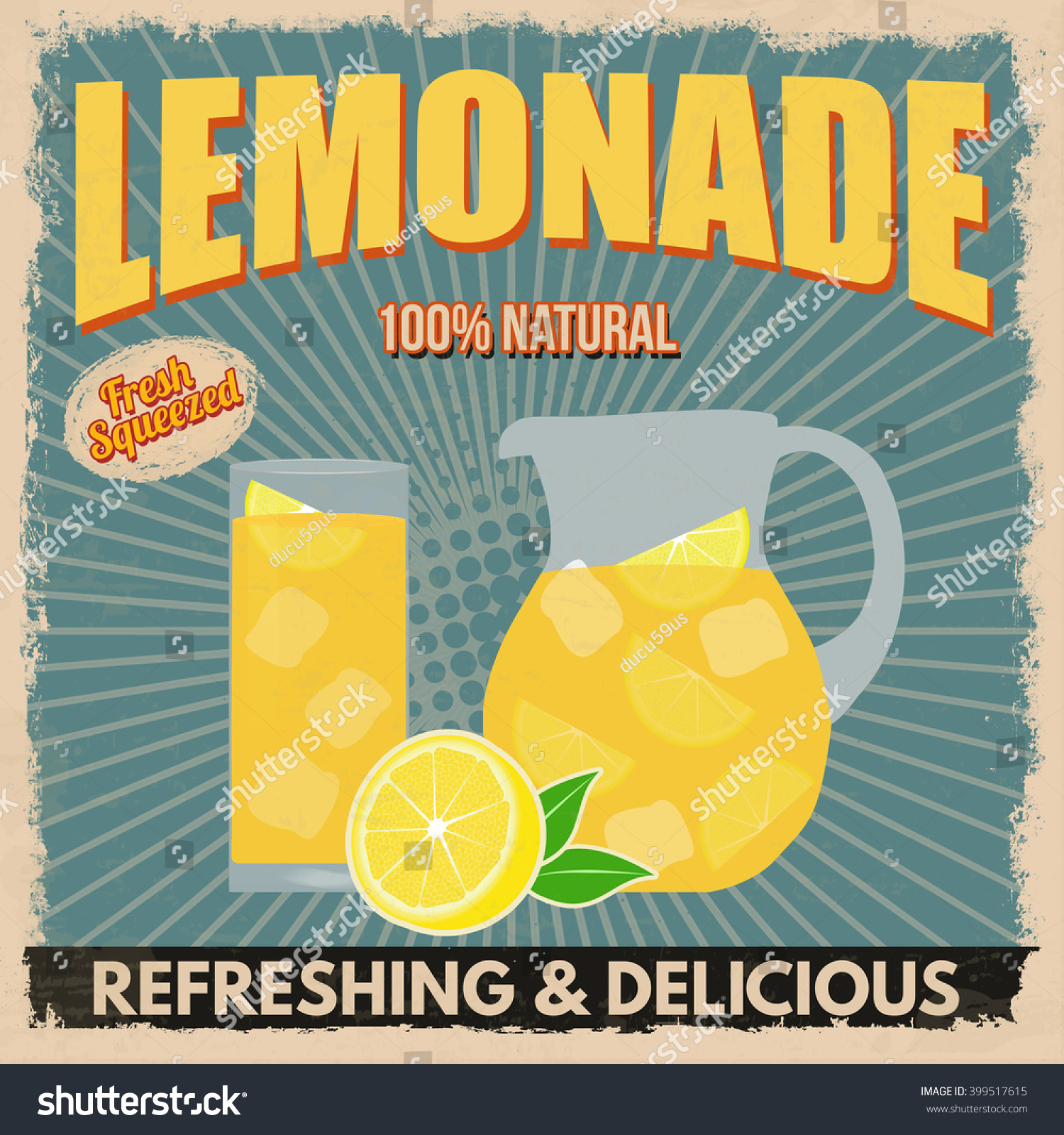 Lemonade Poster Vintage Style On Blue Stock Vector 399517615 ...