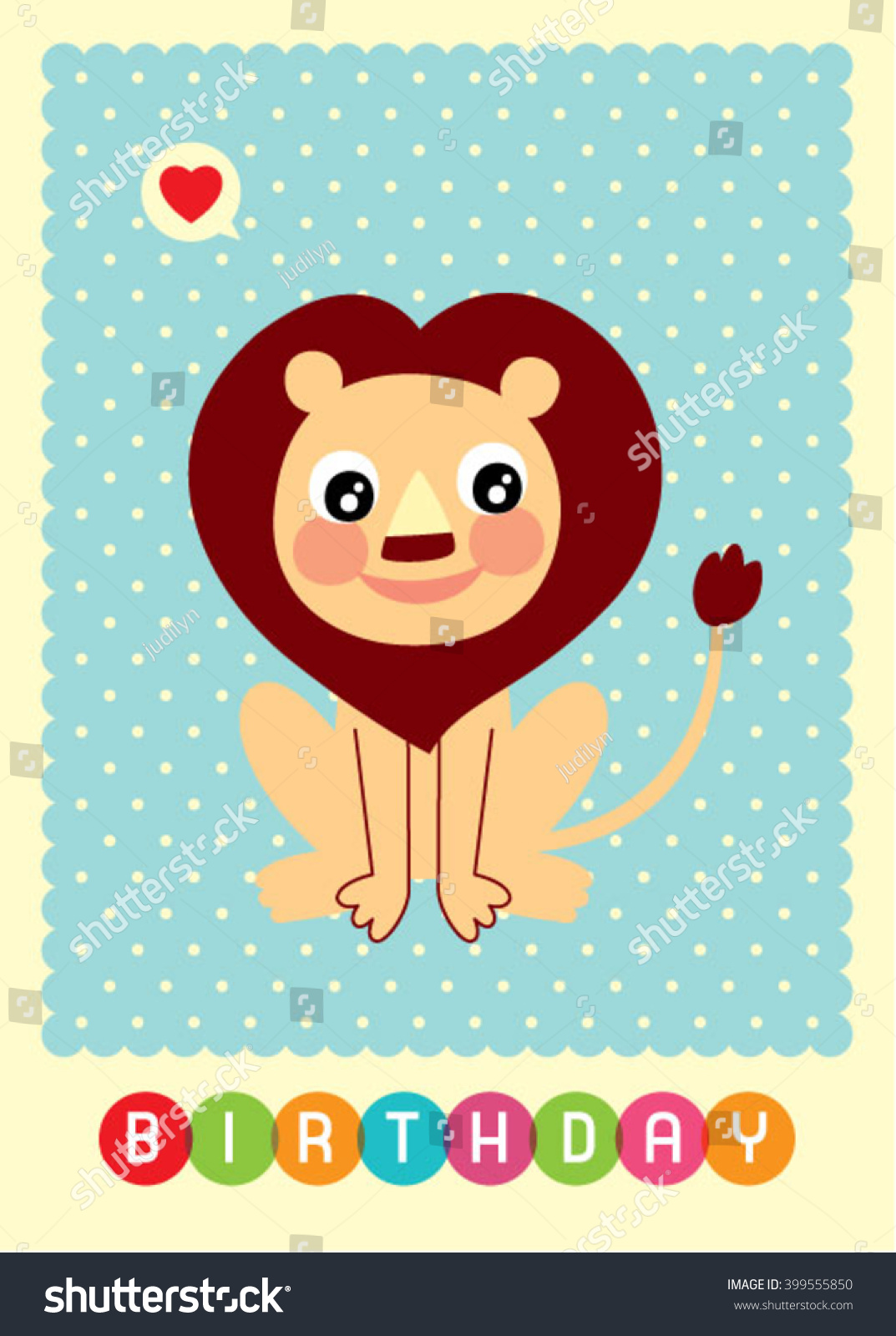Cute Baby Lion Birthday Greeting Card Vector Ez Canvas