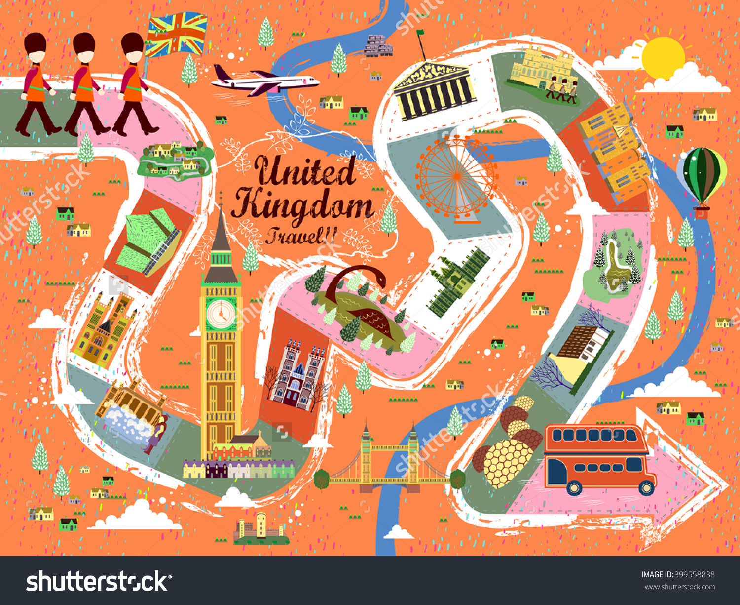 A board poster design - Energetic United Kingdom Travel Board Game Poster Design