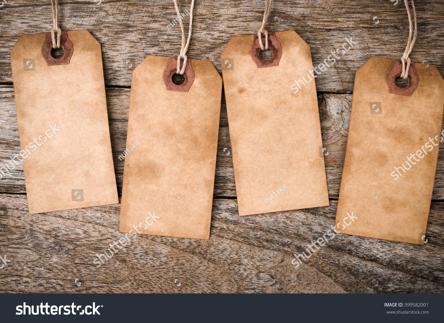 four vertical vintage paper label on stock photo (edit now