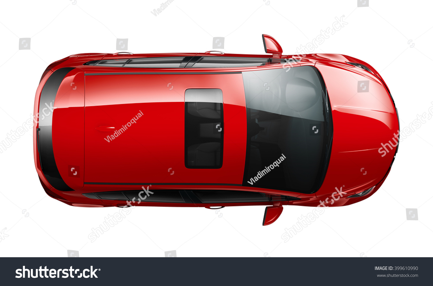 Generic Red Car Top View Stock Illustration