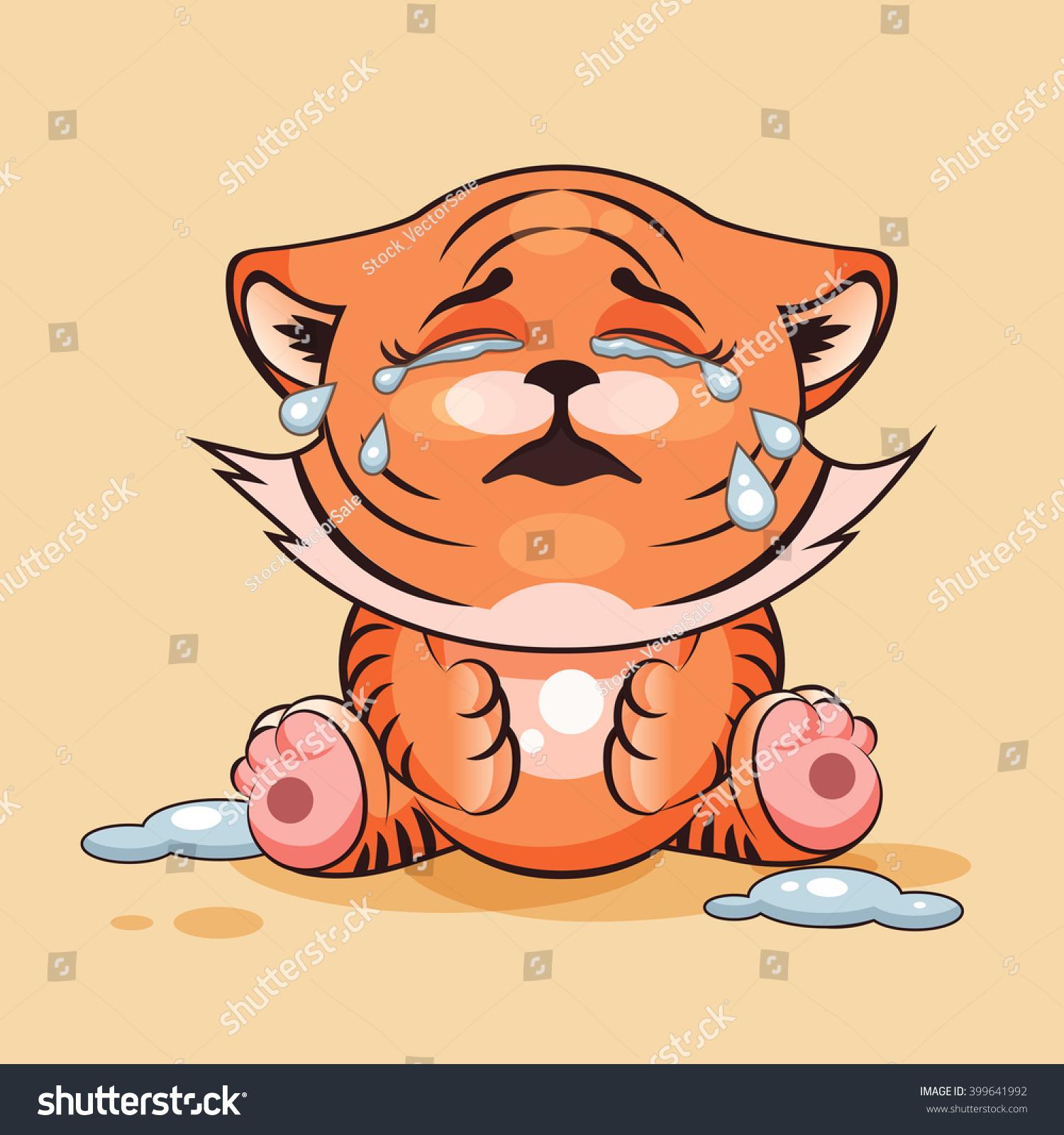 Cartoon Characters Crying : Vector stock illustration isolated emoji character