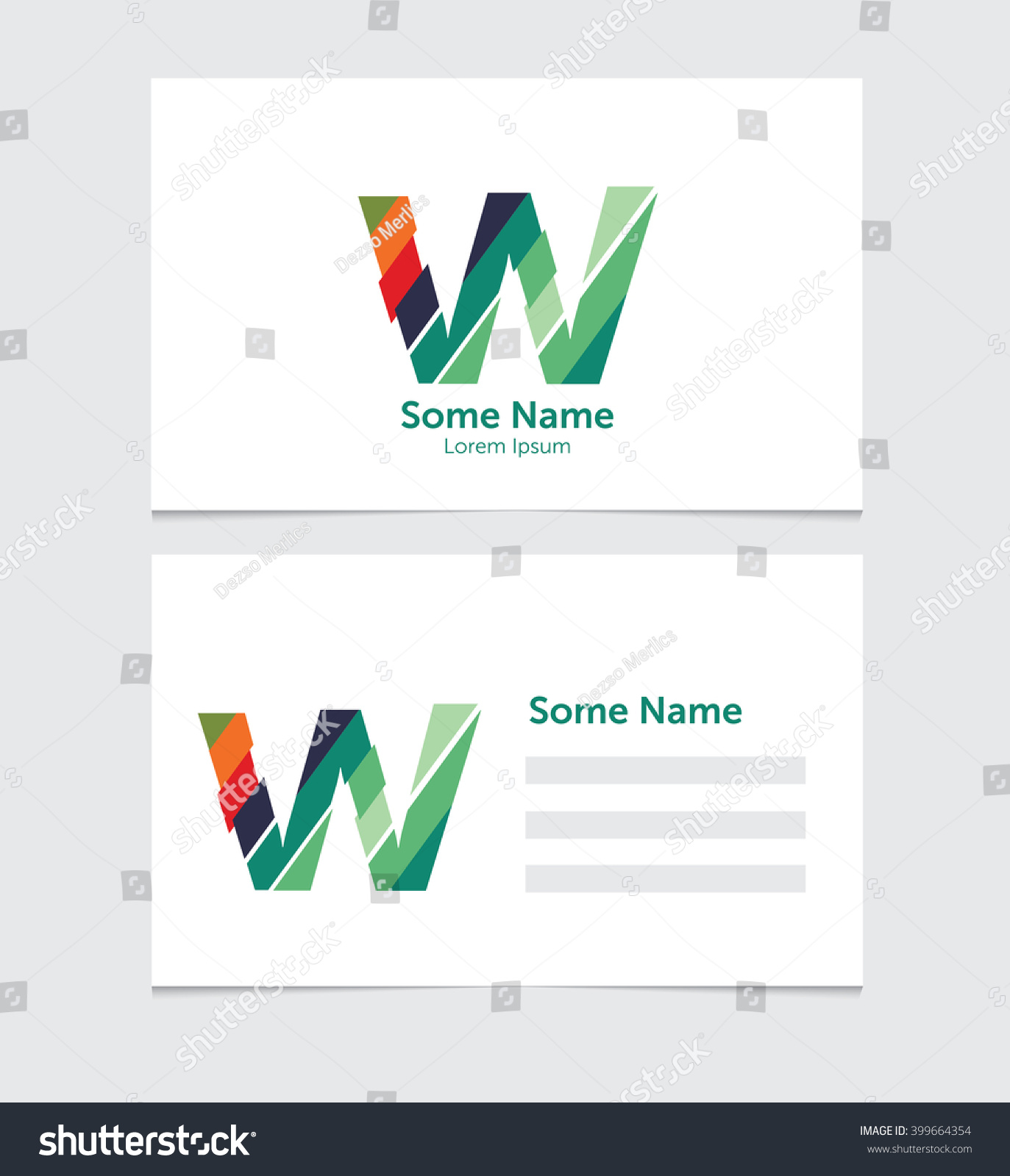 Editable business card template illustration vector stock vector editable business card template with illustration of vector w letter logo wajeb Images