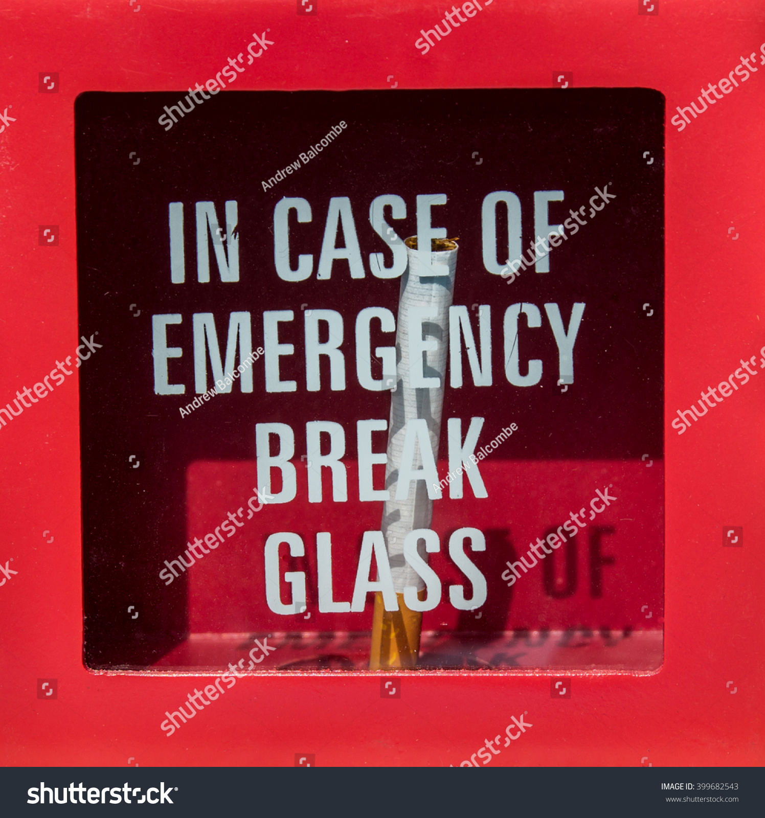 Case Emergency Break Glass Get Cigarette Stock Photo Edit Now