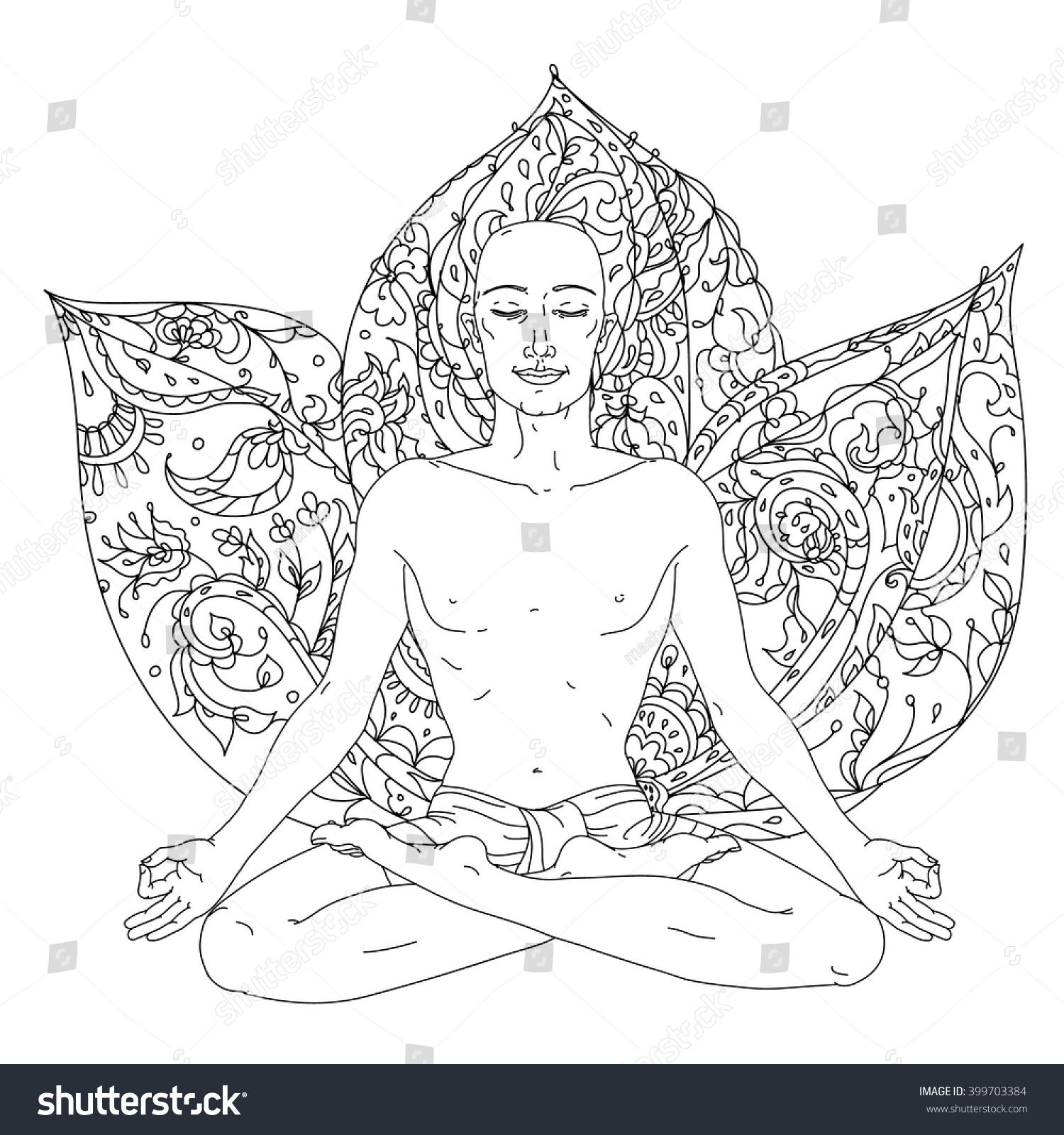 Man Yoga Lotus Position Meditation Logo Stock Vector