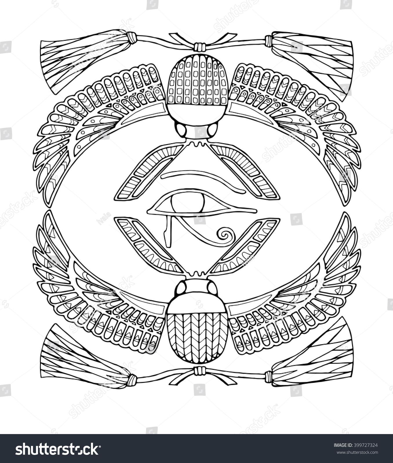 Zentangle Scarab Eye Horus Ancient Egyptian Stock Vector Royalty