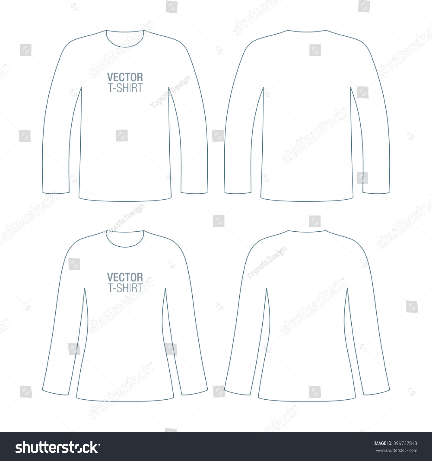 Set Man Woman Long Sleeve Vector Stock Vector HD (Royalty Free ...