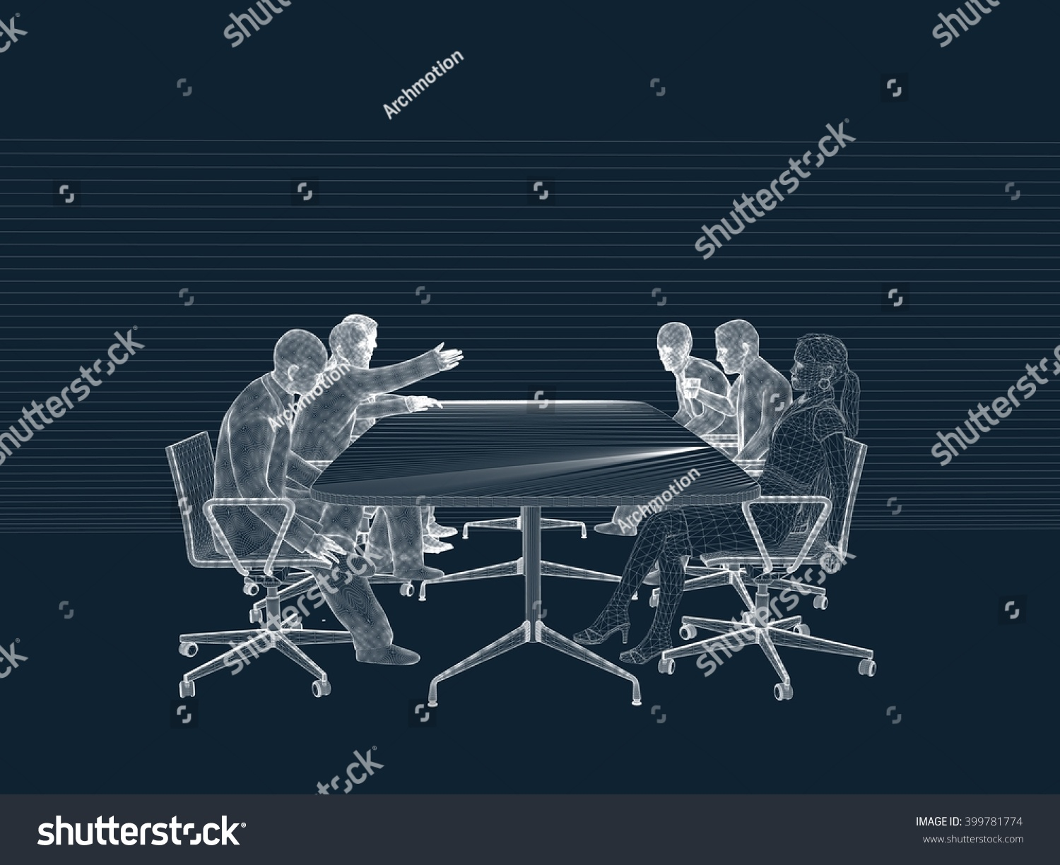 3d People Wireframe Human Character Meeting Stock Illustration 399781774